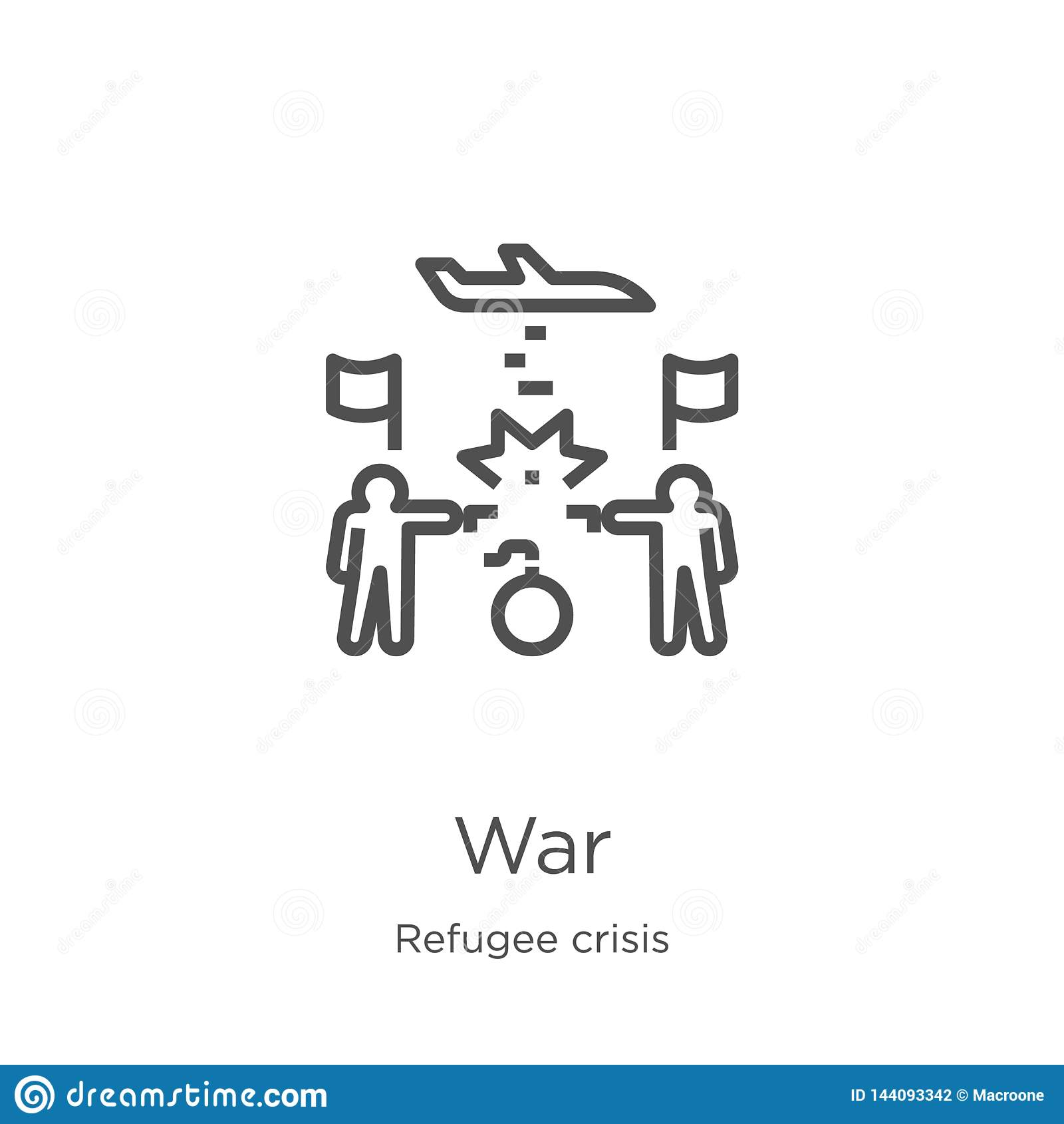 war icon vector from refugee crisis collection. Thin line war outline icon vector illustration. Outline, thin line war icon for