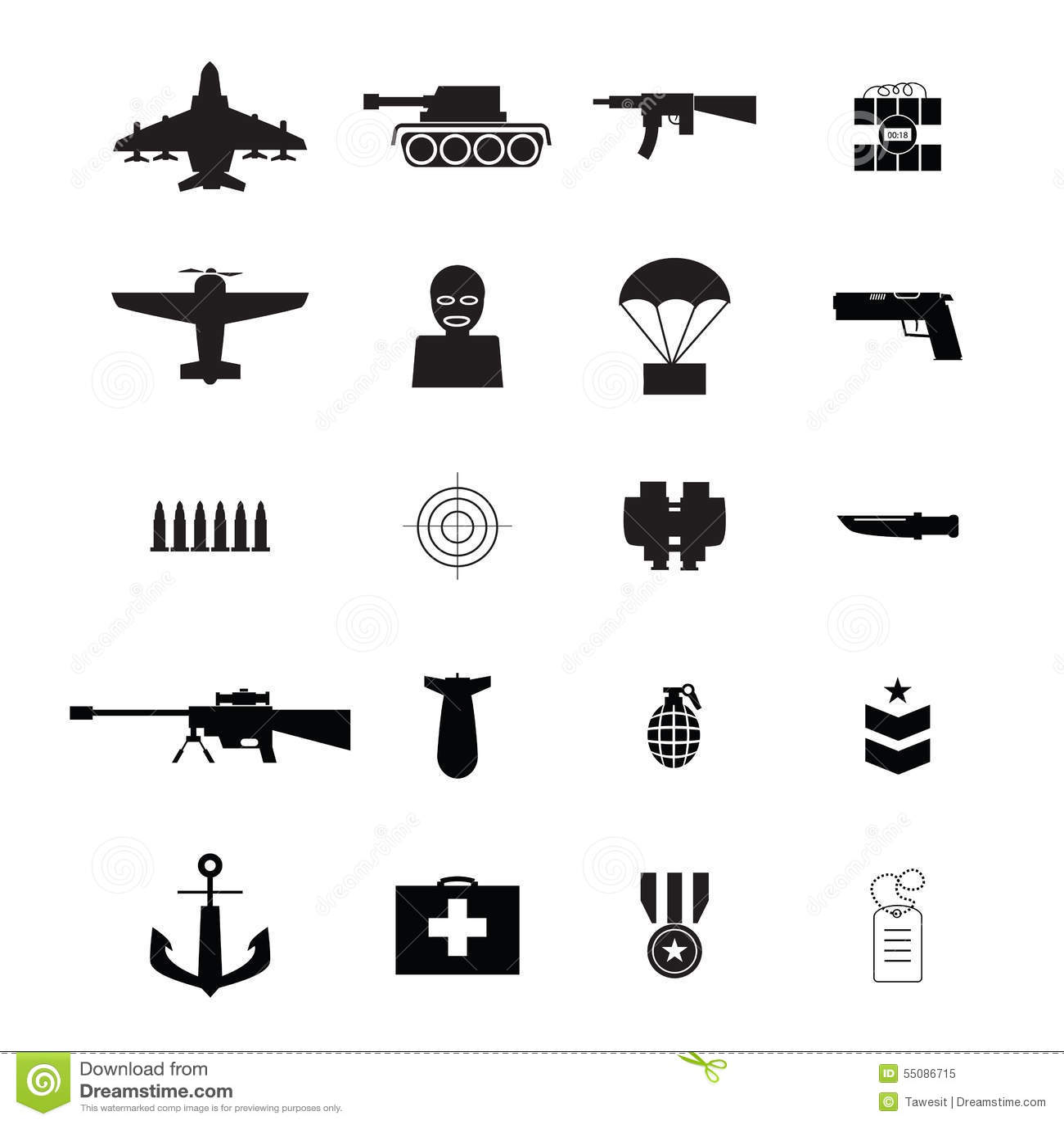 war icons stock vector image 55086715 assault rifle vector art assault rifle vector art