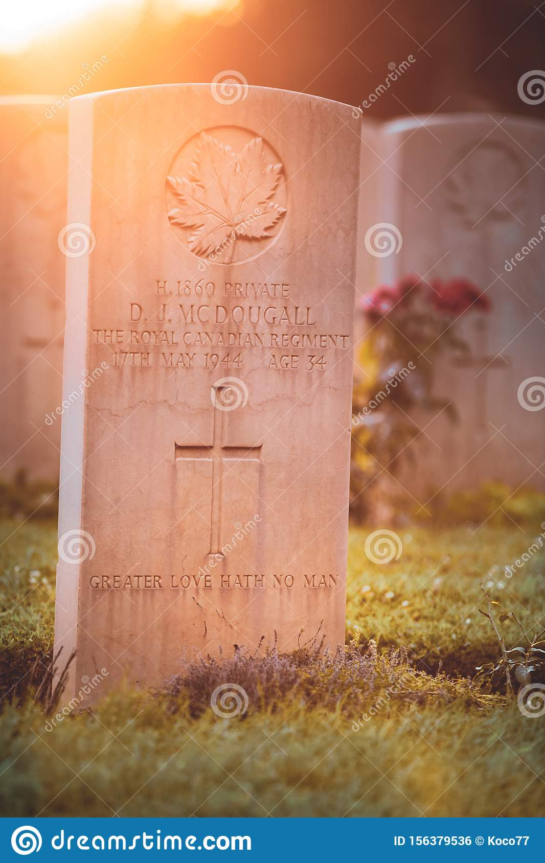 War memorial Canadian tombstone with epitaph.