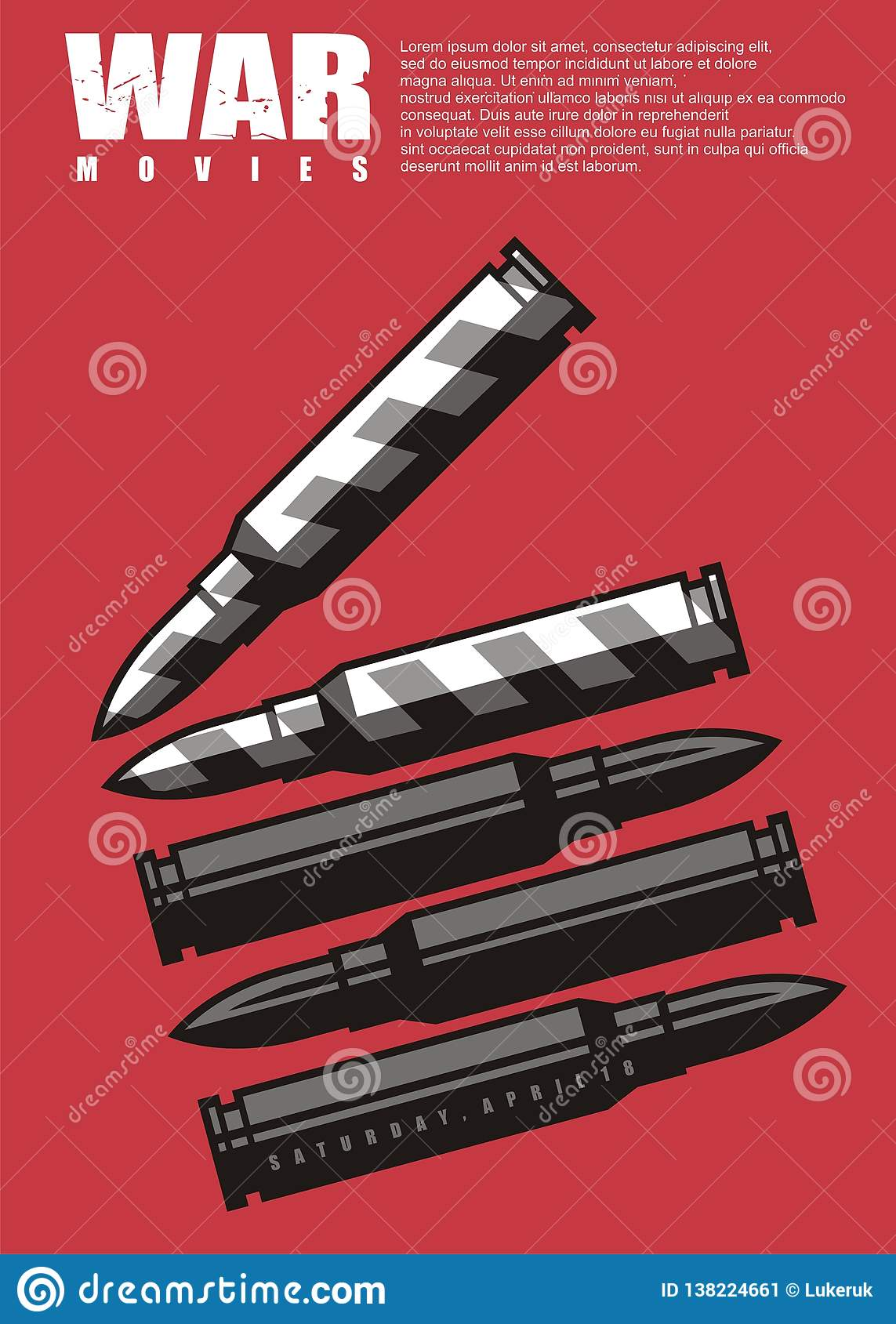 War Movie Poster Design With Clapper Board Made From Ammo Graphic Stock Vector Illustration Of Ammunition Board 138224661