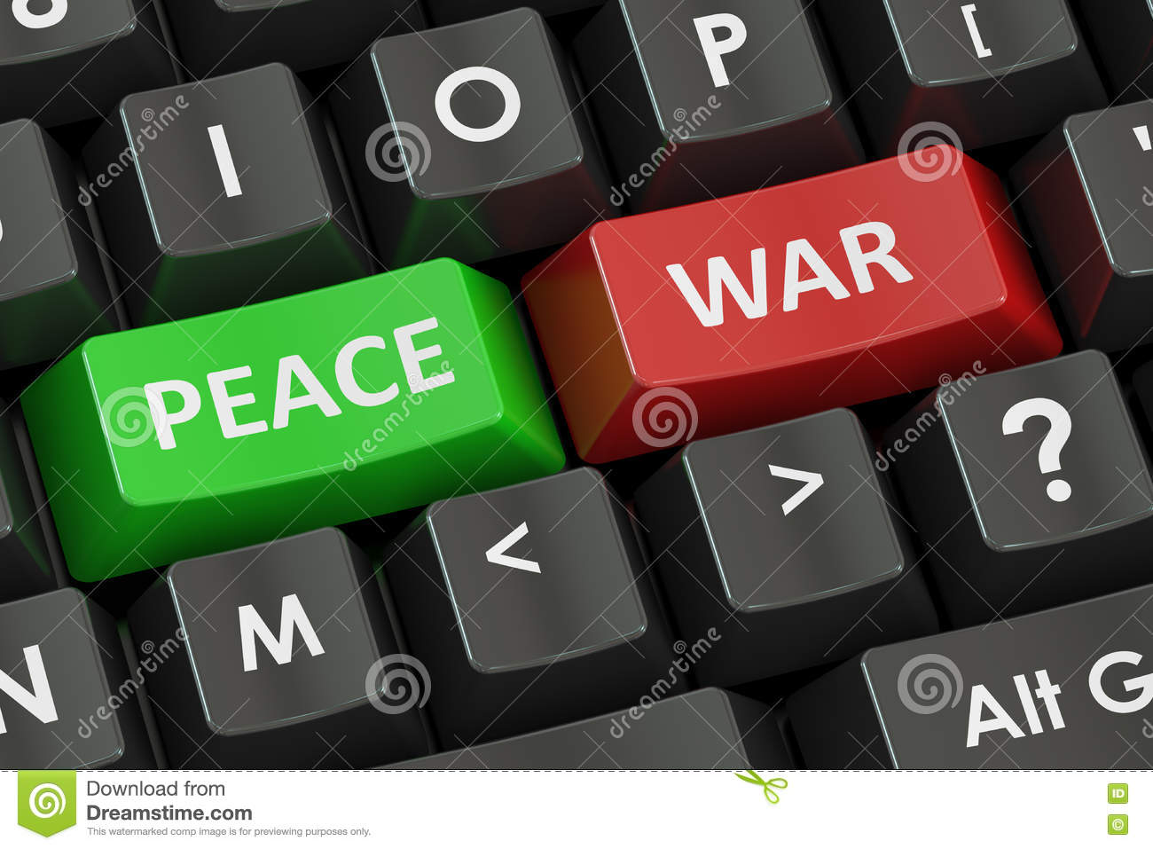 War And Peace Concept On The Black Keyboard 3d Rendering Stock