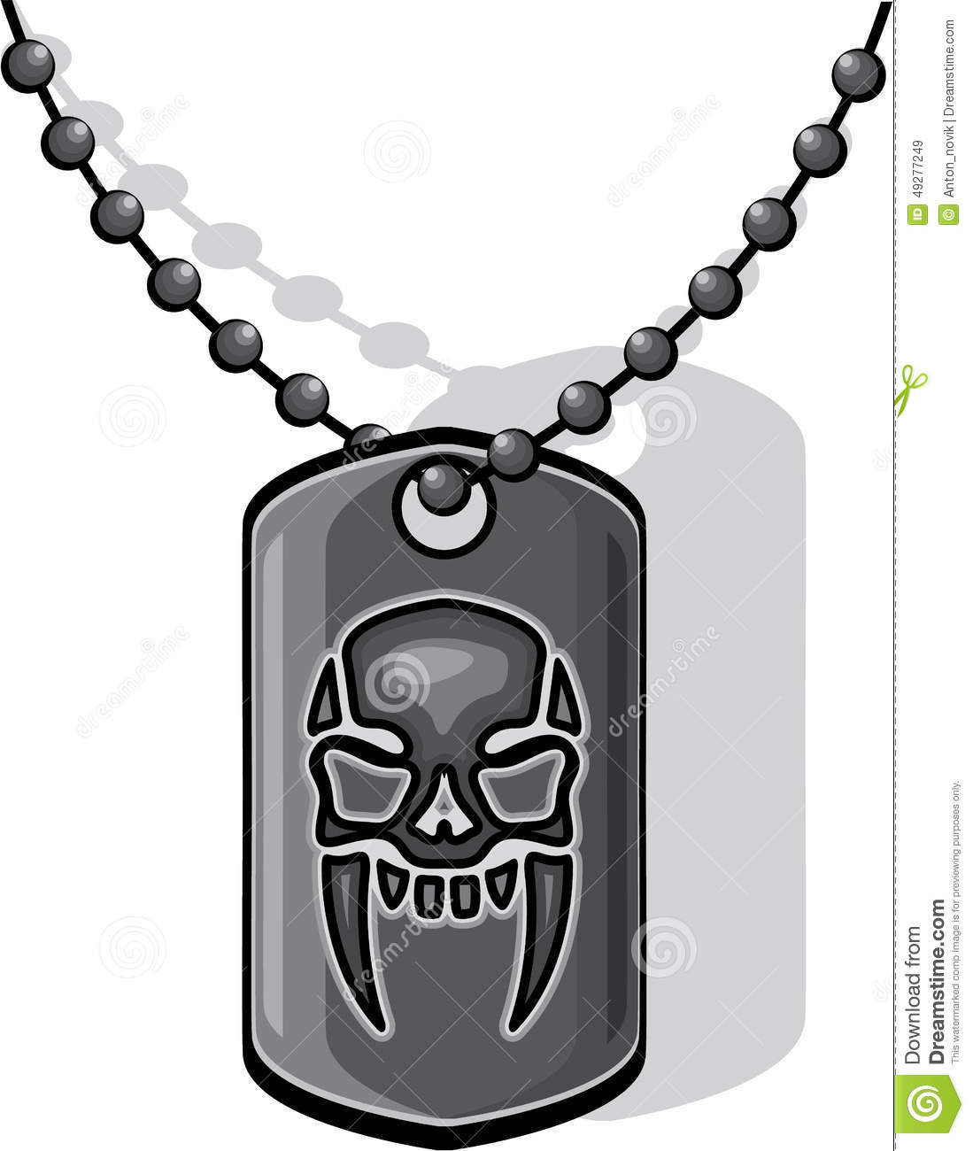 War Skull Dog Tag Stock Vector - Image: 49277249