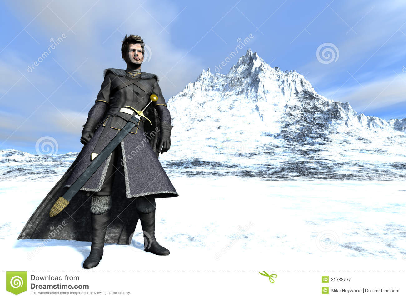 Fantasy bearded warrior in long fur lined cloak and black leather with ...