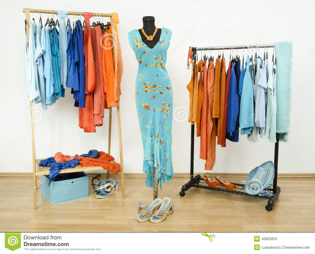 Wardrobe With Complementary Colors Orange And Blue Clothes ...