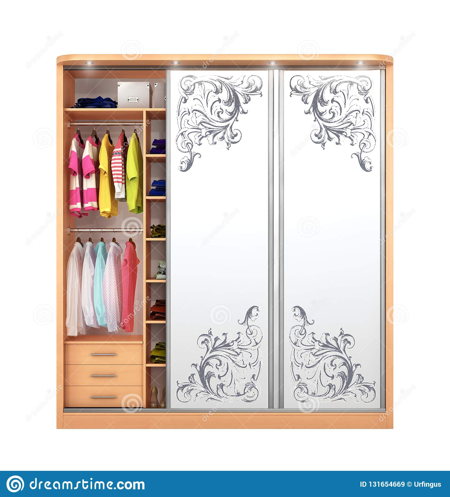 Wardrobe Coupe Open Closet With Things Stock Image Image Of