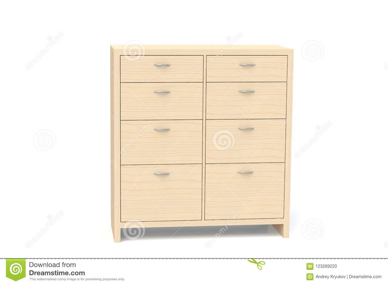 Wardrobe With Drawers For Clothes, Linen, Underwear, Children`s Clothes.  Wooden Chest Of Drawers. Office Furniture For Documents Storage.