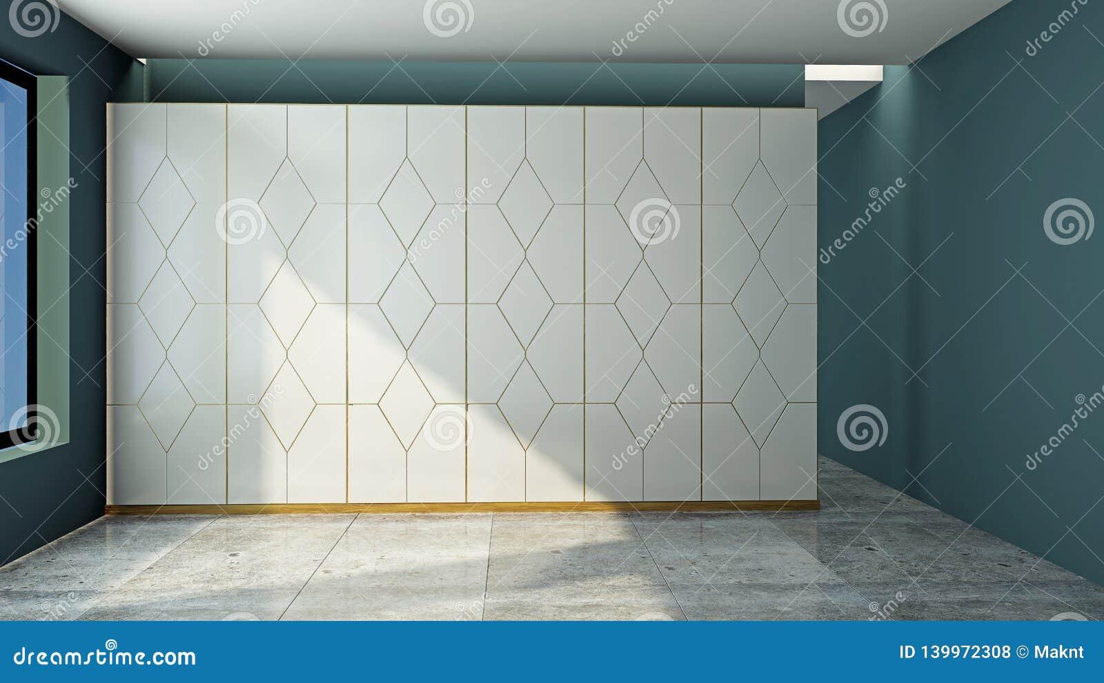 Wardrobe in an empty room 3D rendering
