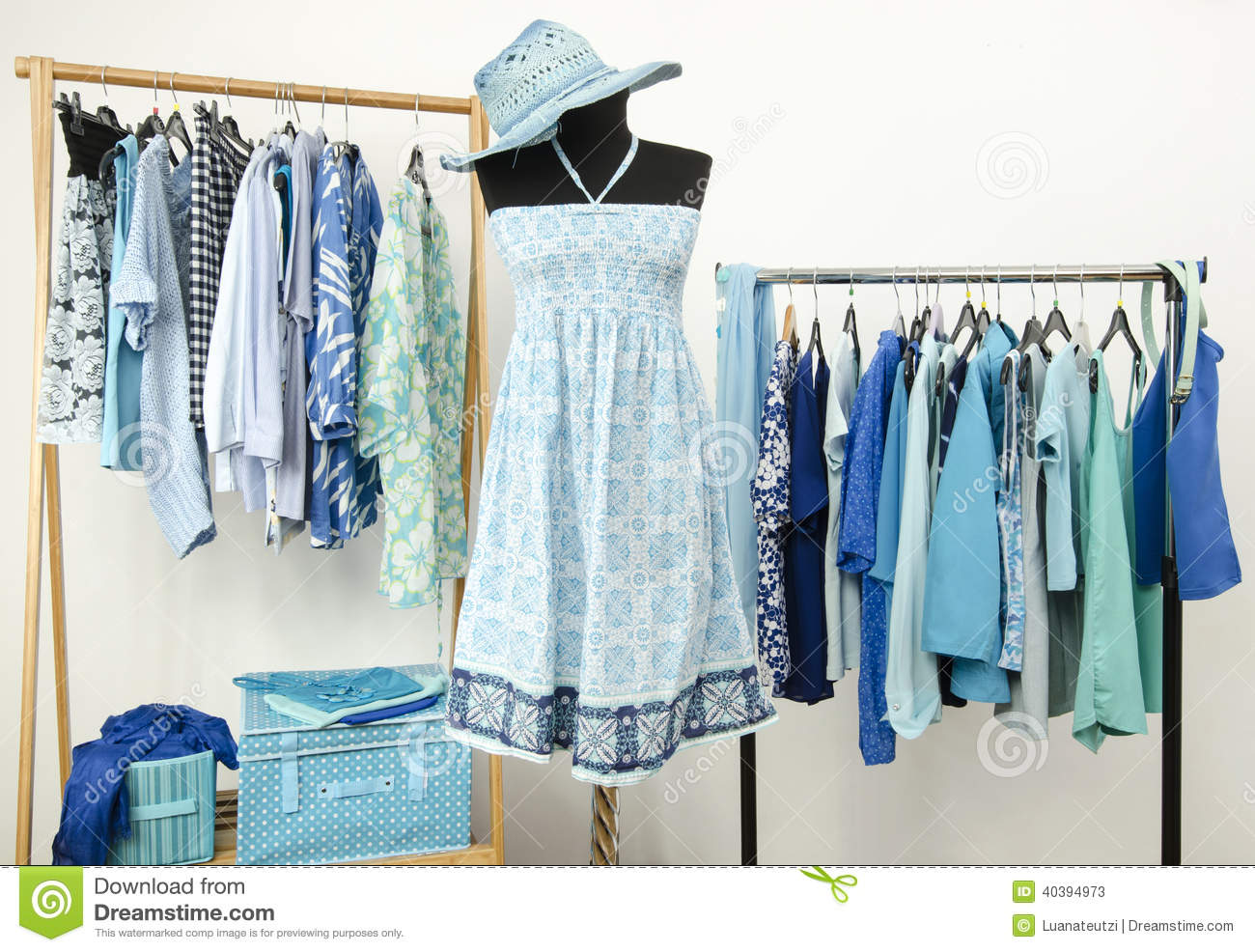 Wardrobe Full Of All Shades Of Blue Clothes And Accessories Stock Image Image Of Colorful Interior 40394973