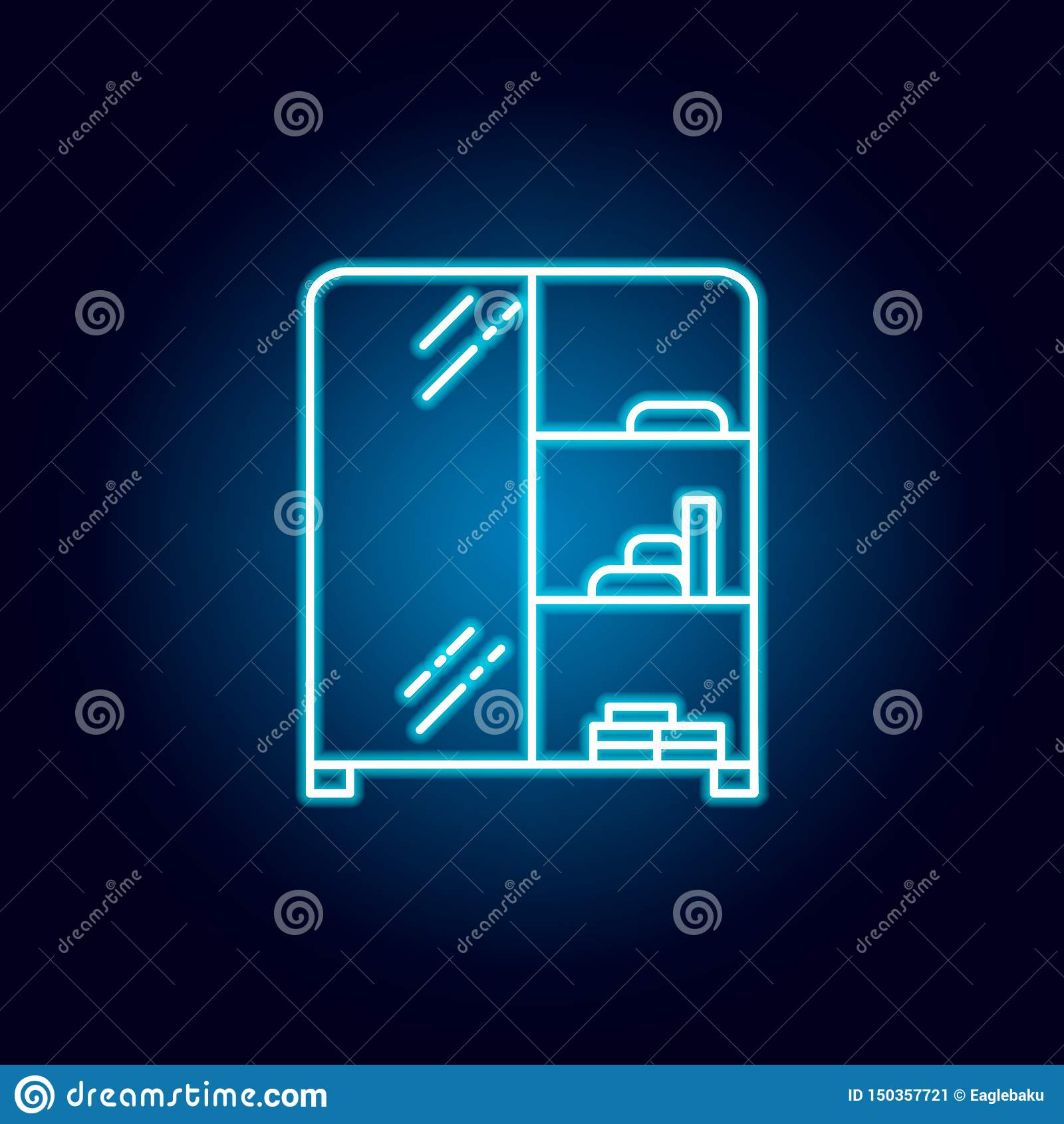 wardrobe, furniture outline icon in neon style. signs and symbols can be used for web, logo, mobile app, UI, UX