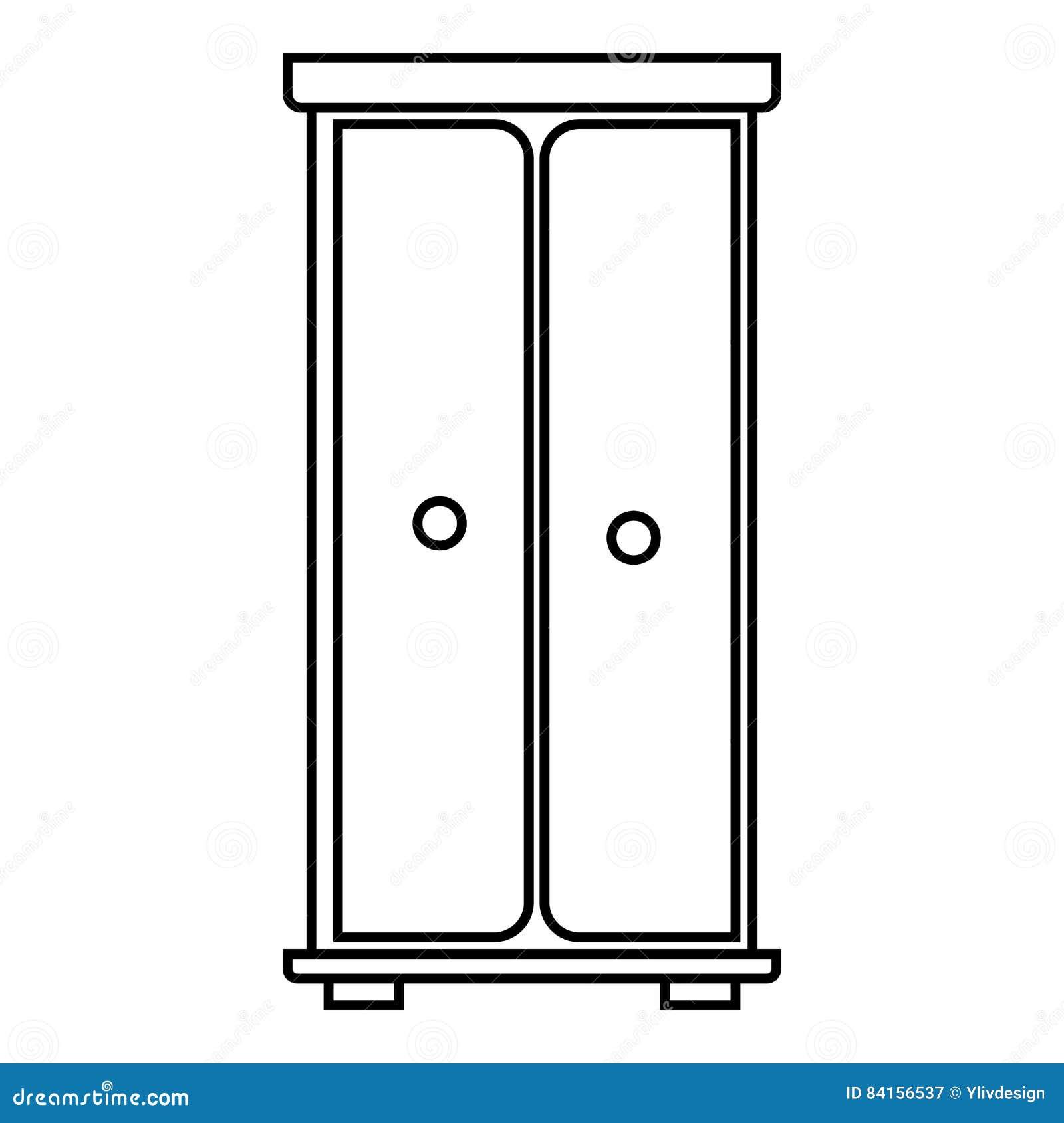 Wardrobe Icon Outline Style Stock Vector Illustration
