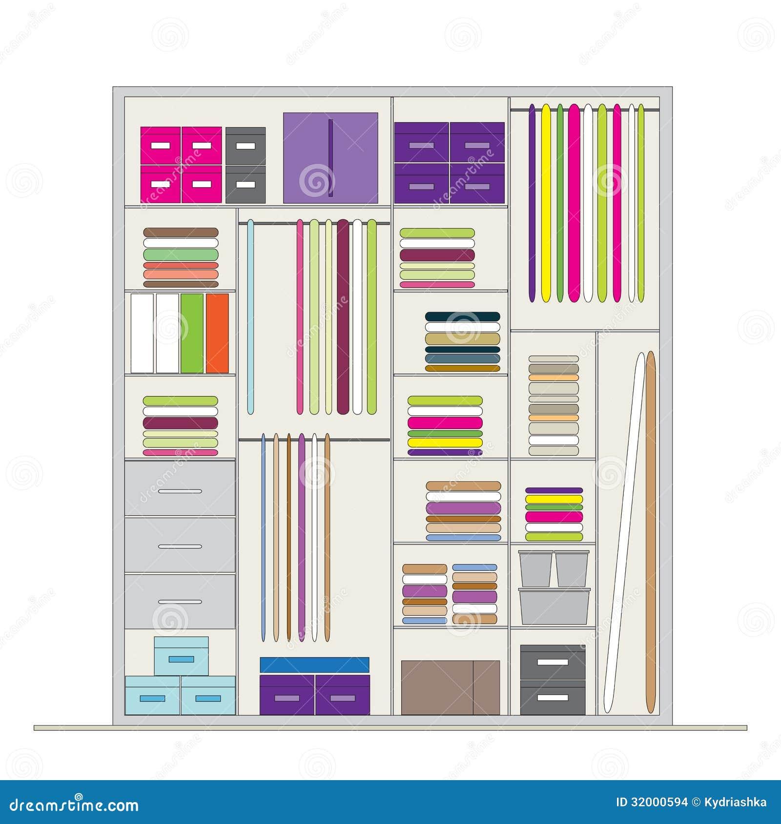Wardrobe Inside Illustration For Your Design Stock Vector