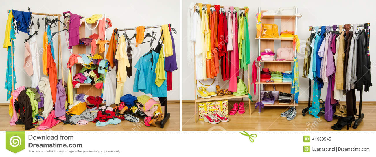 Wardrobe Before Messy After Tidy Arranged By Colors Stock