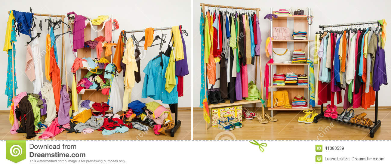 Wardrobe Before Messy After Tidy Stock Photo Image 41380539
