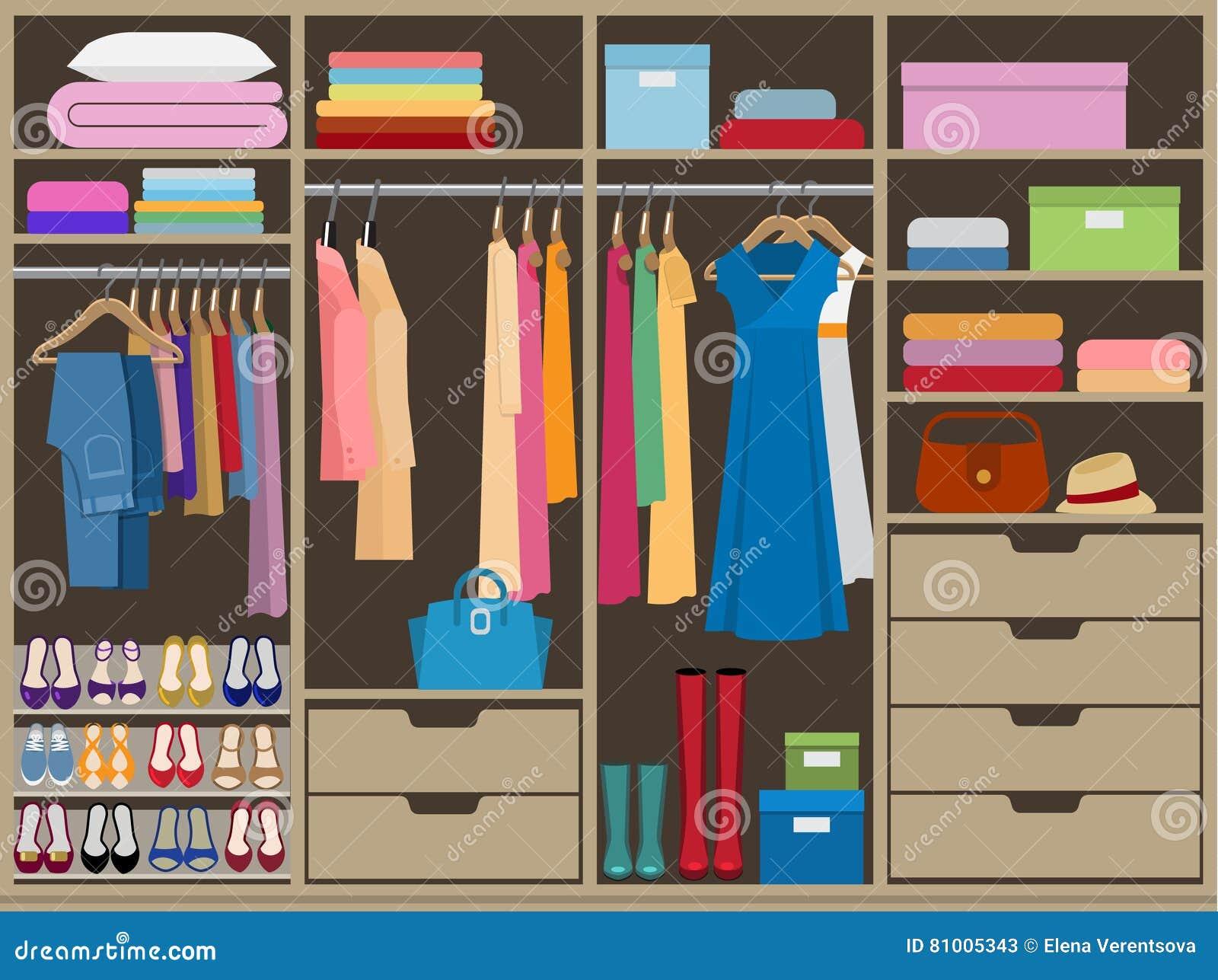 Wardrobe Room Full Of Womans Cloths Flat Style Vector Illustration
