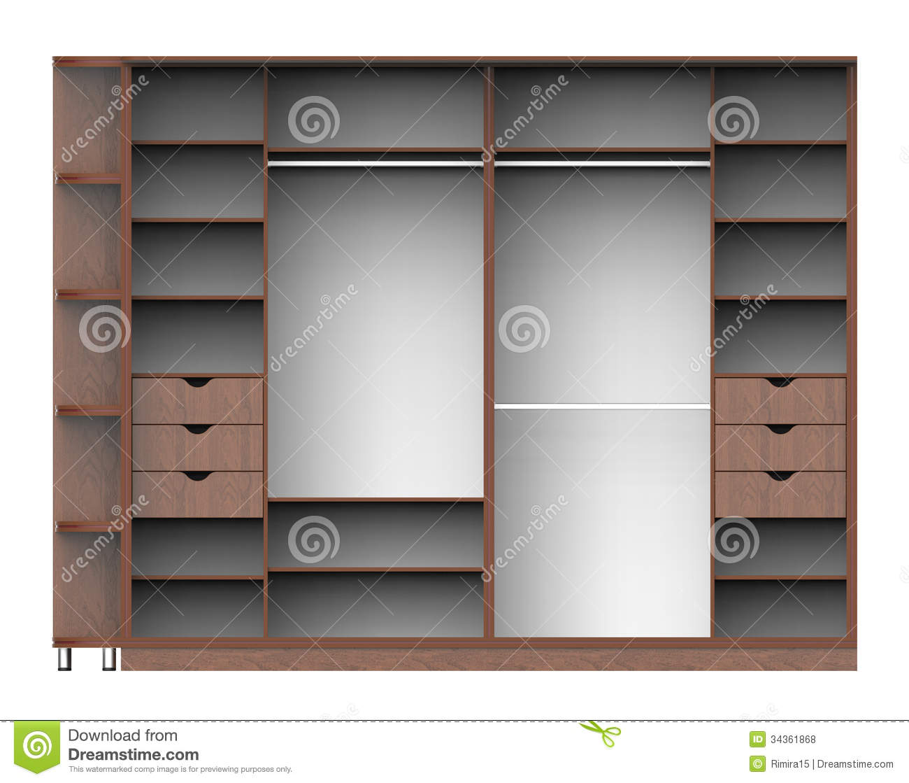 Wardrobe With Shelves Stock Illustration Image Of