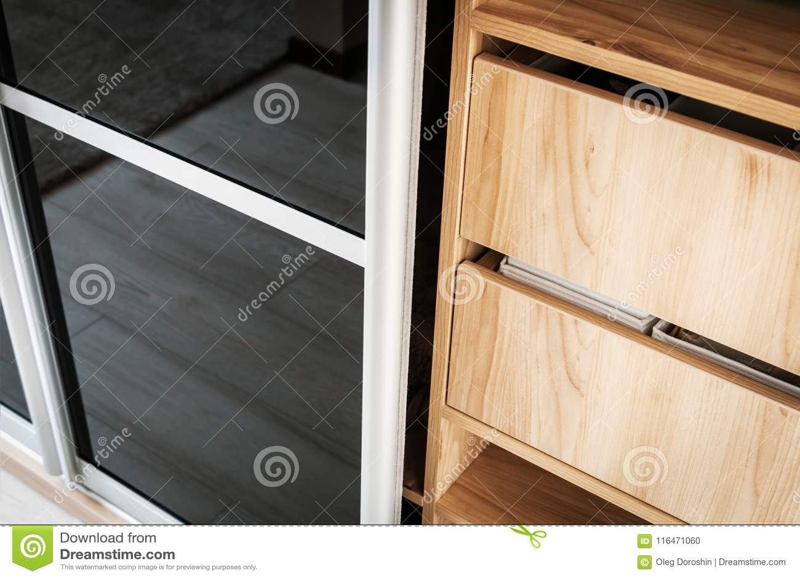 wardrobe with sliding doors and drawers drawer stock photo image