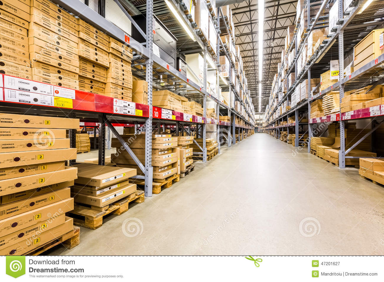 warehouse aisle in an ikea store editorial photography image 47201627. Black Bedroom Furniture Sets. Home Design Ideas