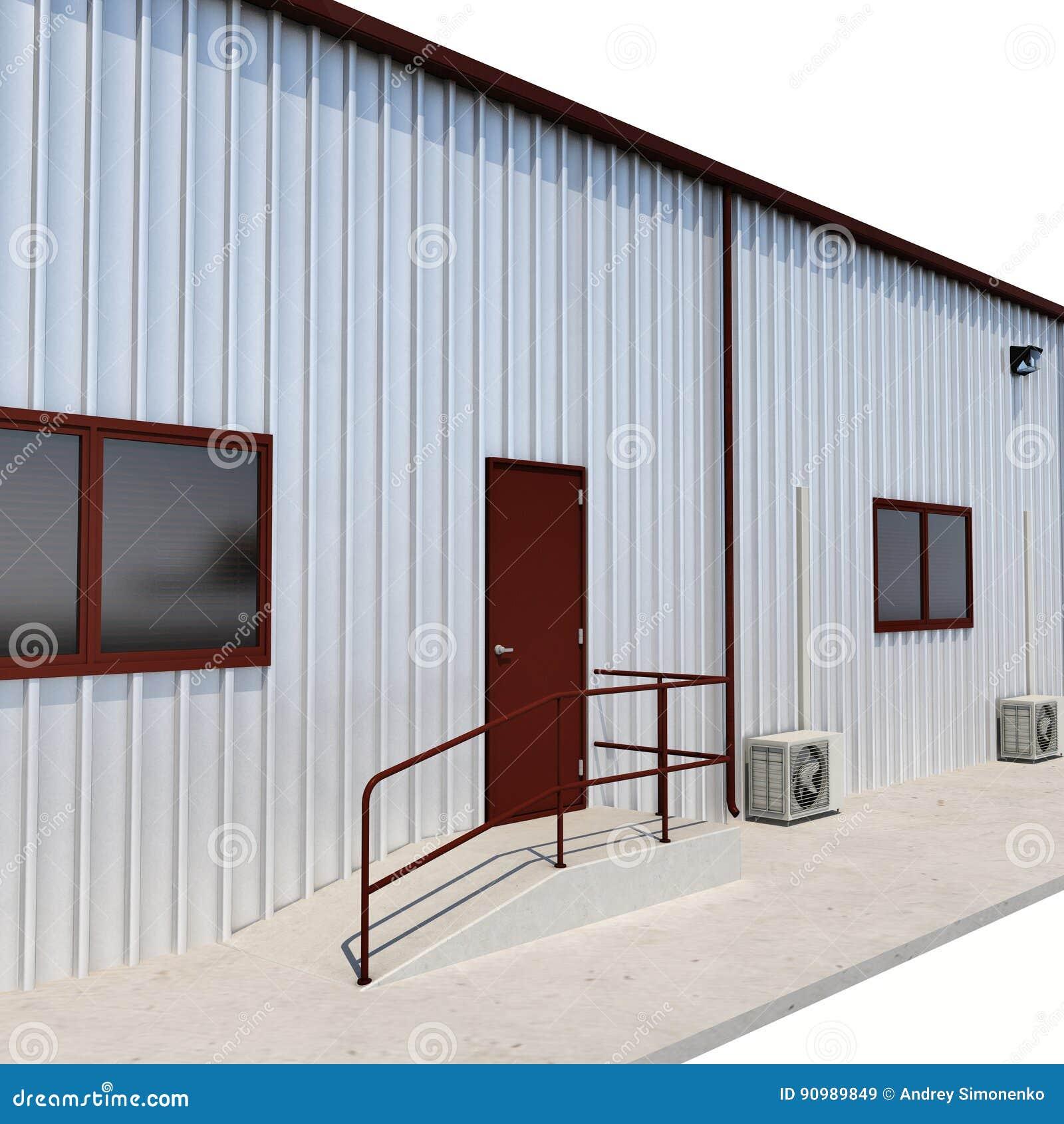 Warehouse building door on white 3d illustration stock for Door 3d warehouse