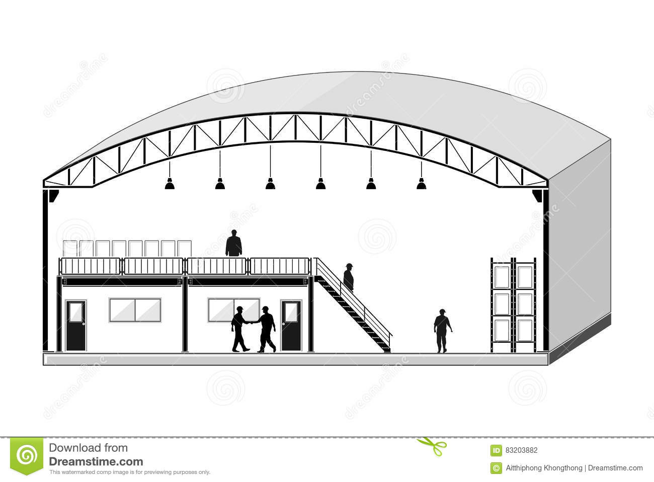 Warehouse building storage section roofing design vector for Draw layout warehouse