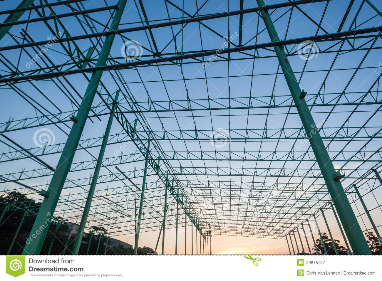Warehouse building construction steel frame stock image for Structure photography