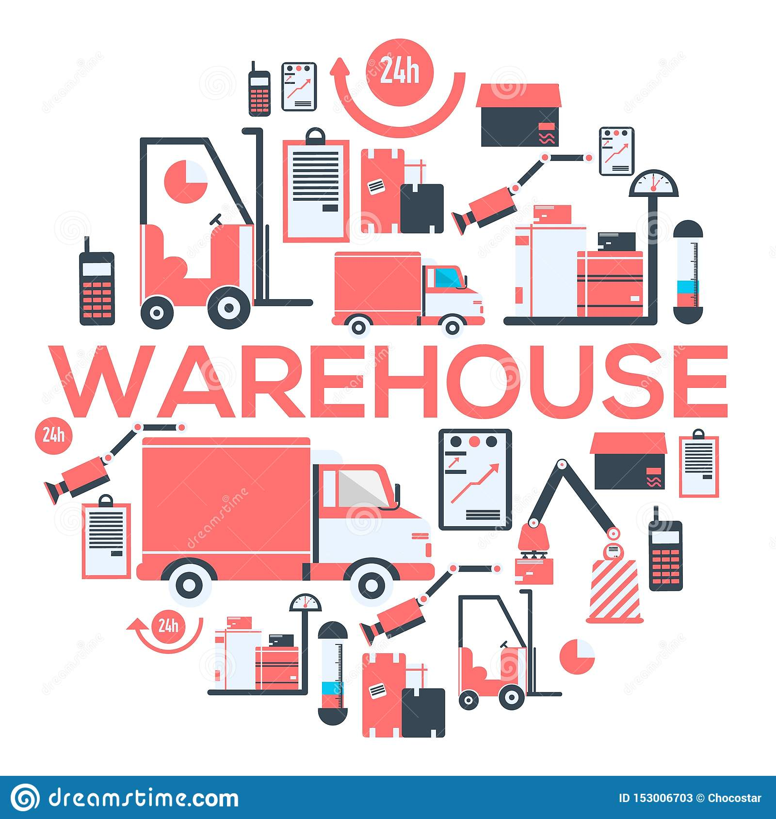 Warehouse and delivery services 24 hours banner