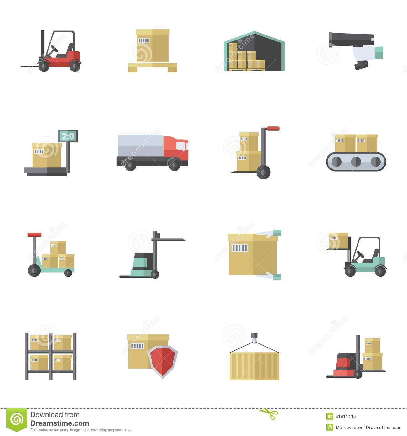 Warehouse Icons Flat S...