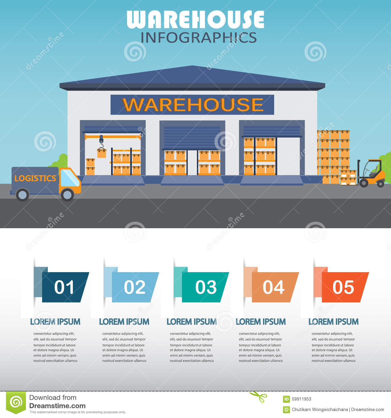 Warehouse Infographics Stock Vector Image 59911953
