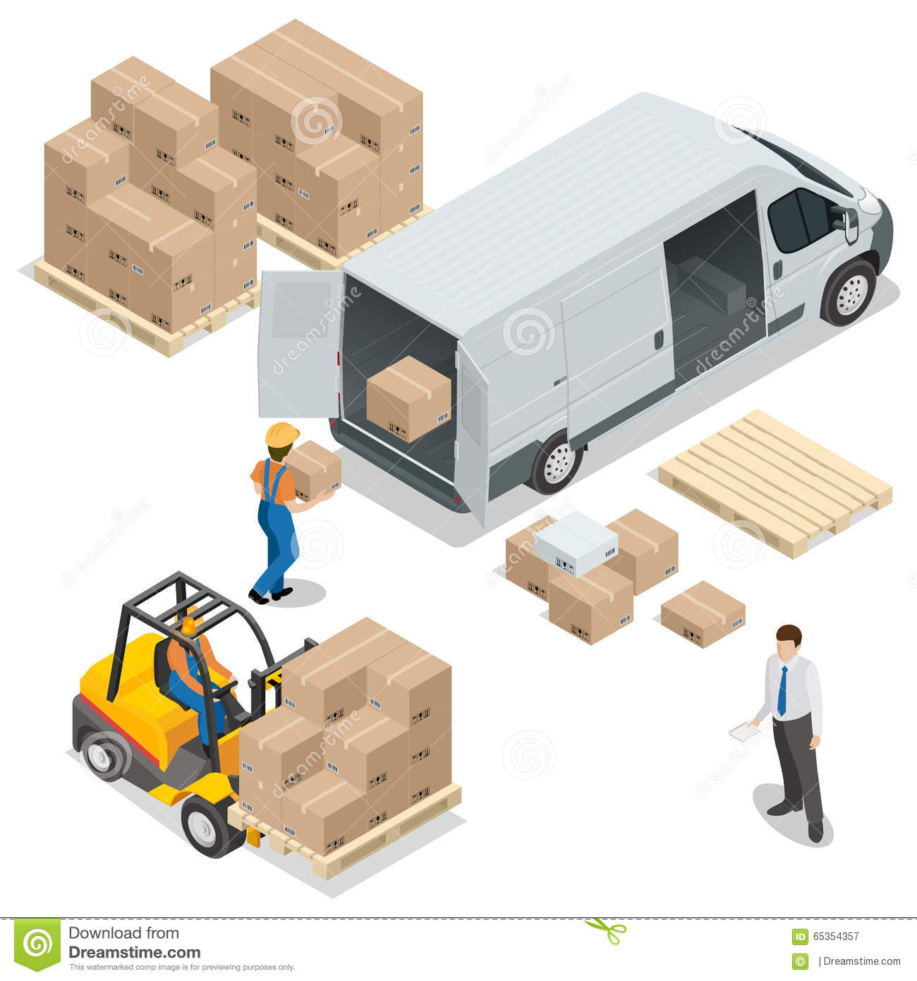 Warehouse. Loading and unloading from warehouse