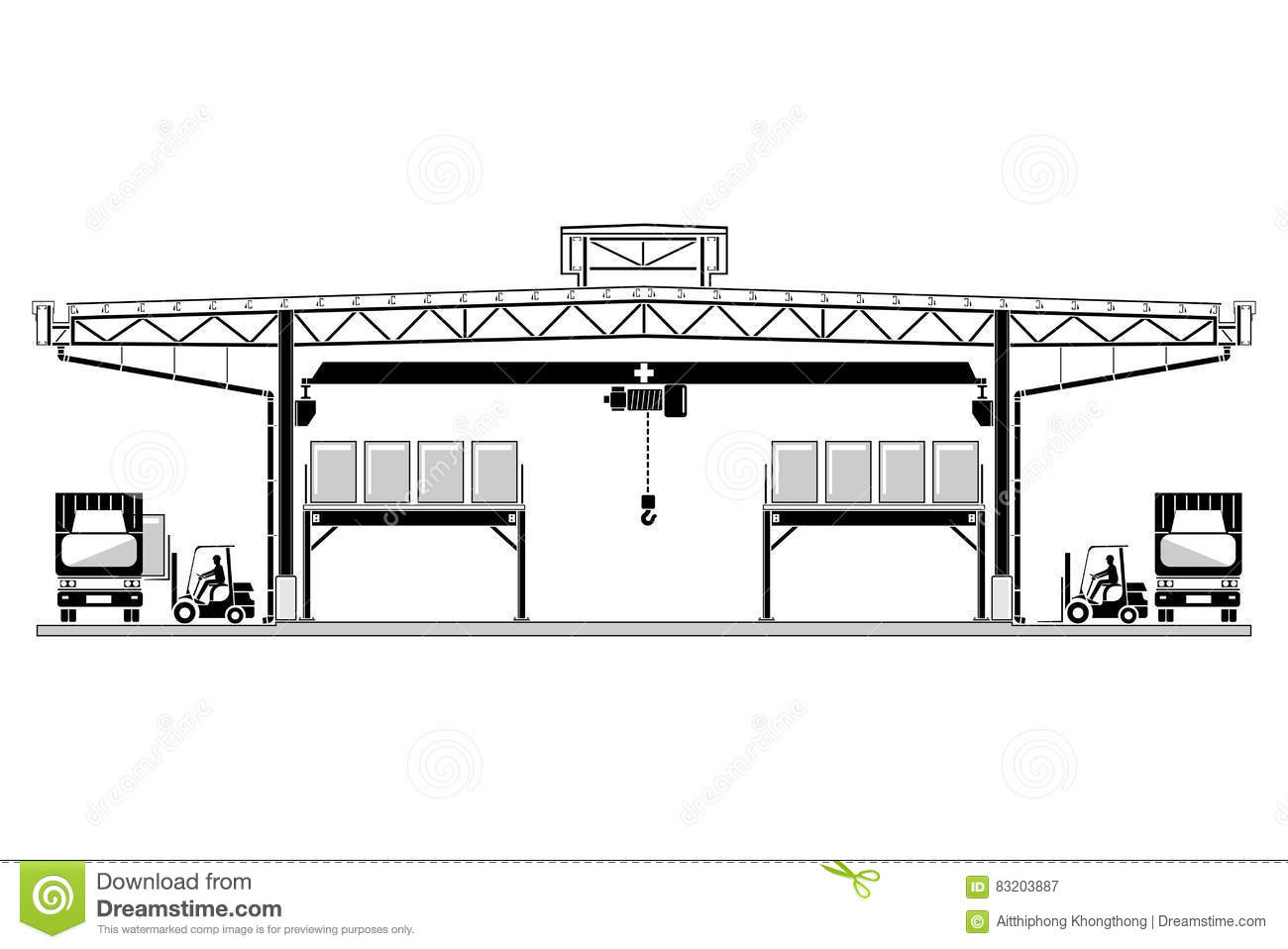 Warehouse Logistic Roofing Design Storage Section Vector