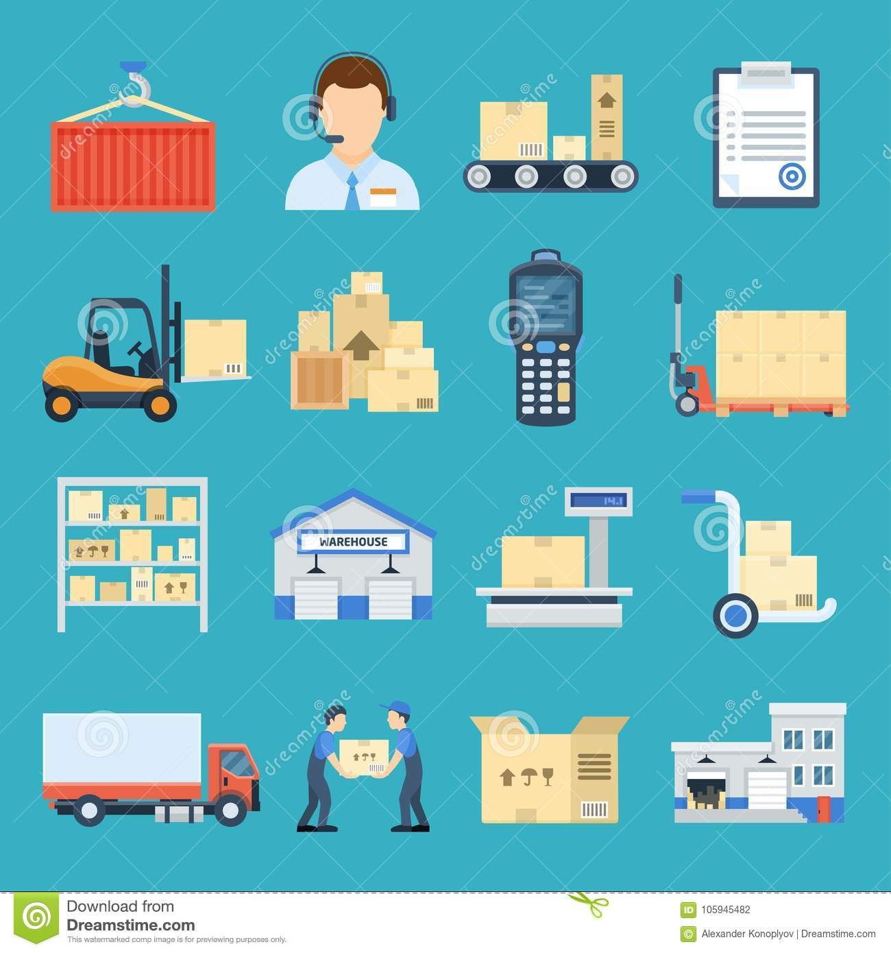 Warehouse and logistic set stock vector  Illustration of