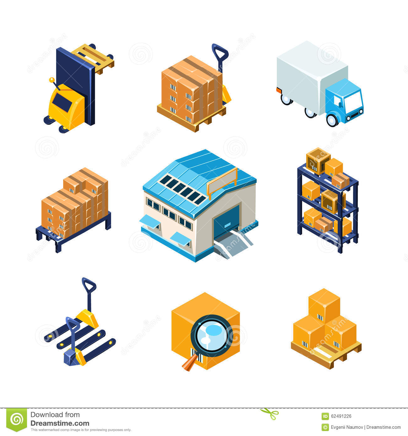 Warehouse And Logistics Equipment Icon Set Flat Stock