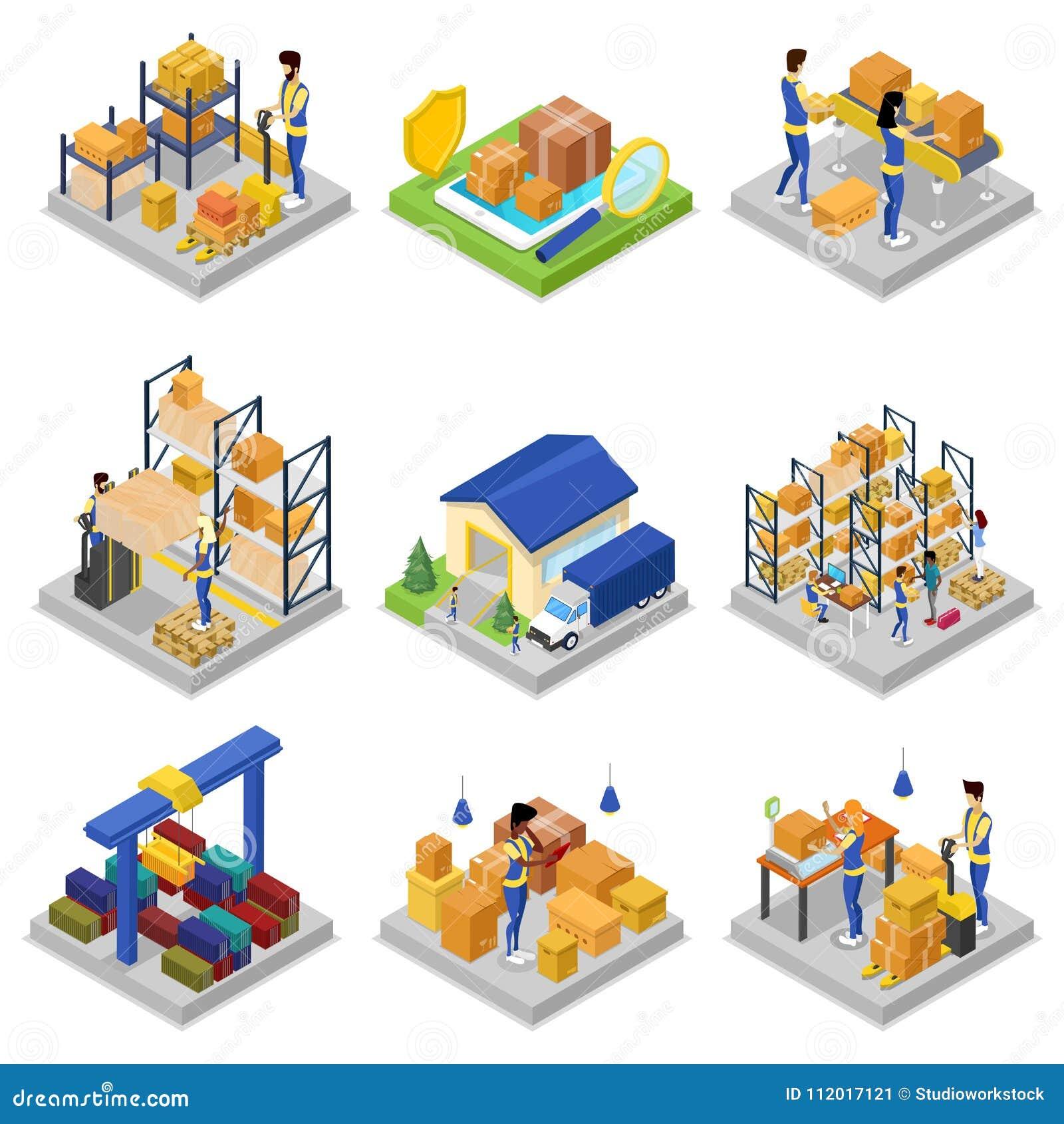 Warehouse Management Isometric 3D Set Stock Vector - Illustration of