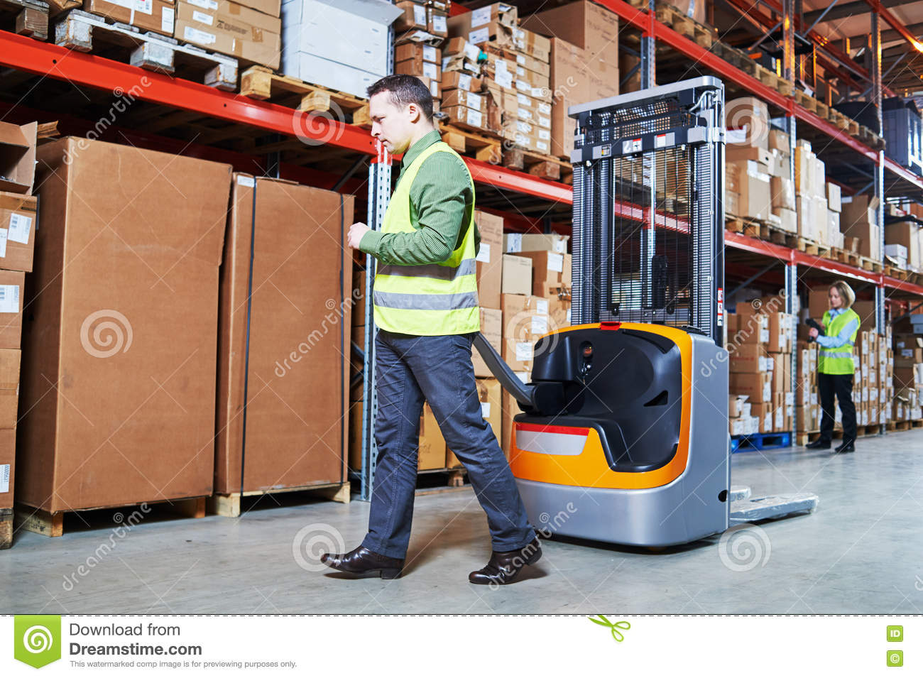 Warehouse Management System  Workers With Barcode Scanner And