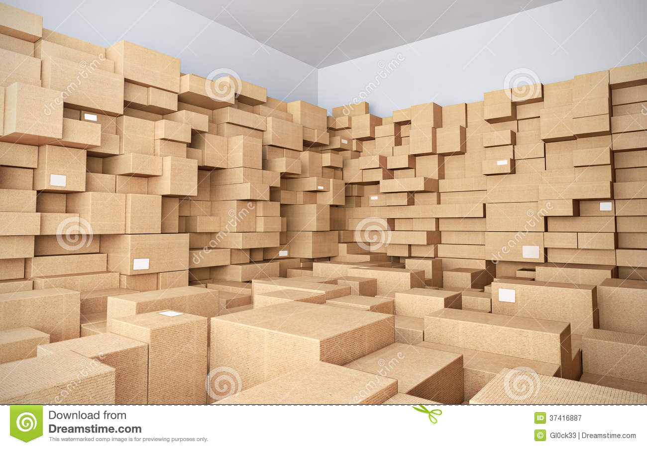 Warehouse with many cardboard boxes