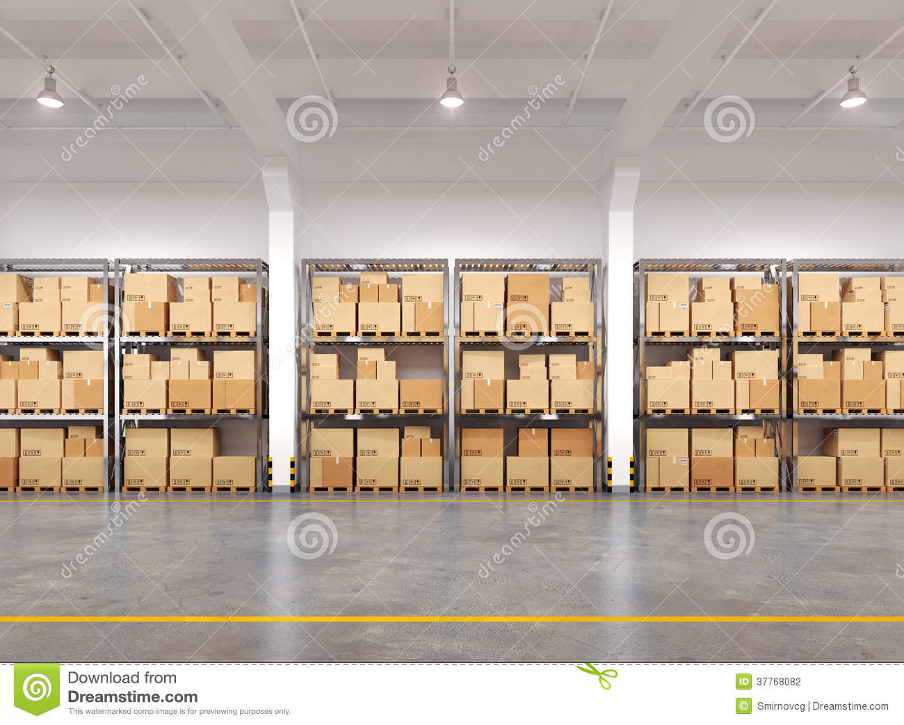 Warehouse with many racks and boxes