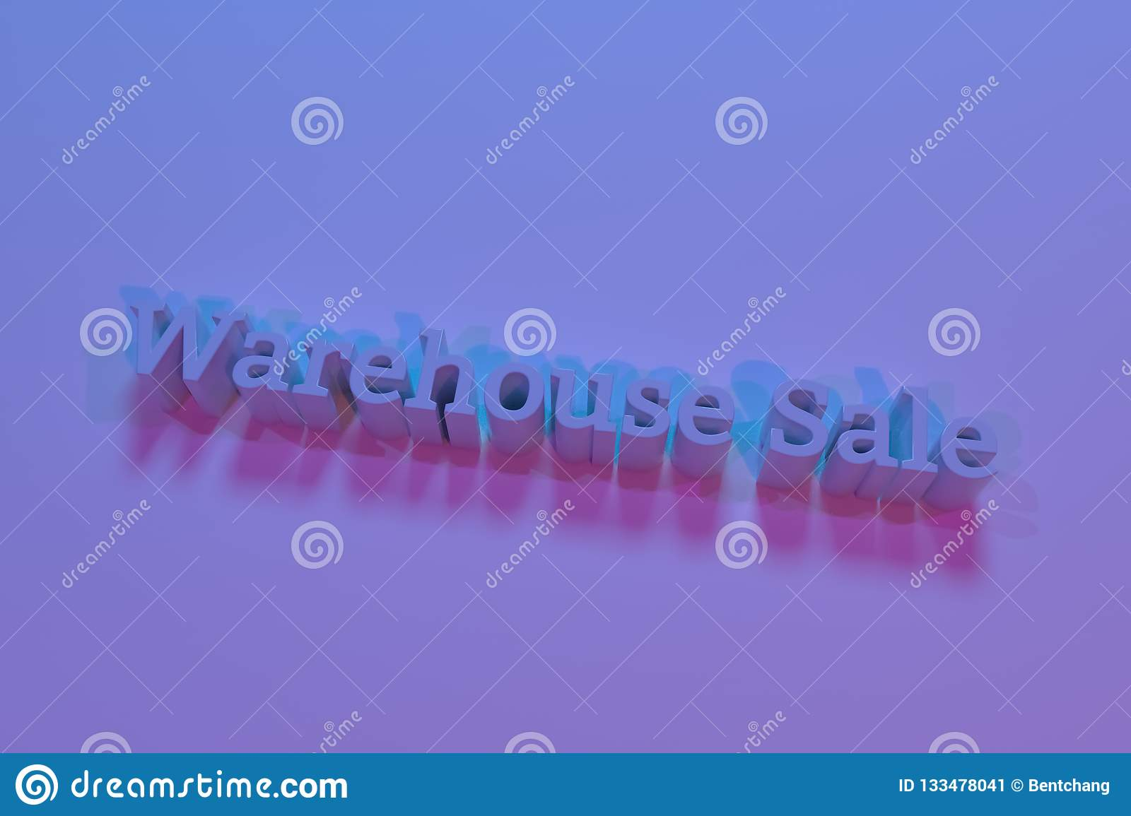 Warehouse sale, 3D rendering. CGI keywords. For graphic design or background, typography.