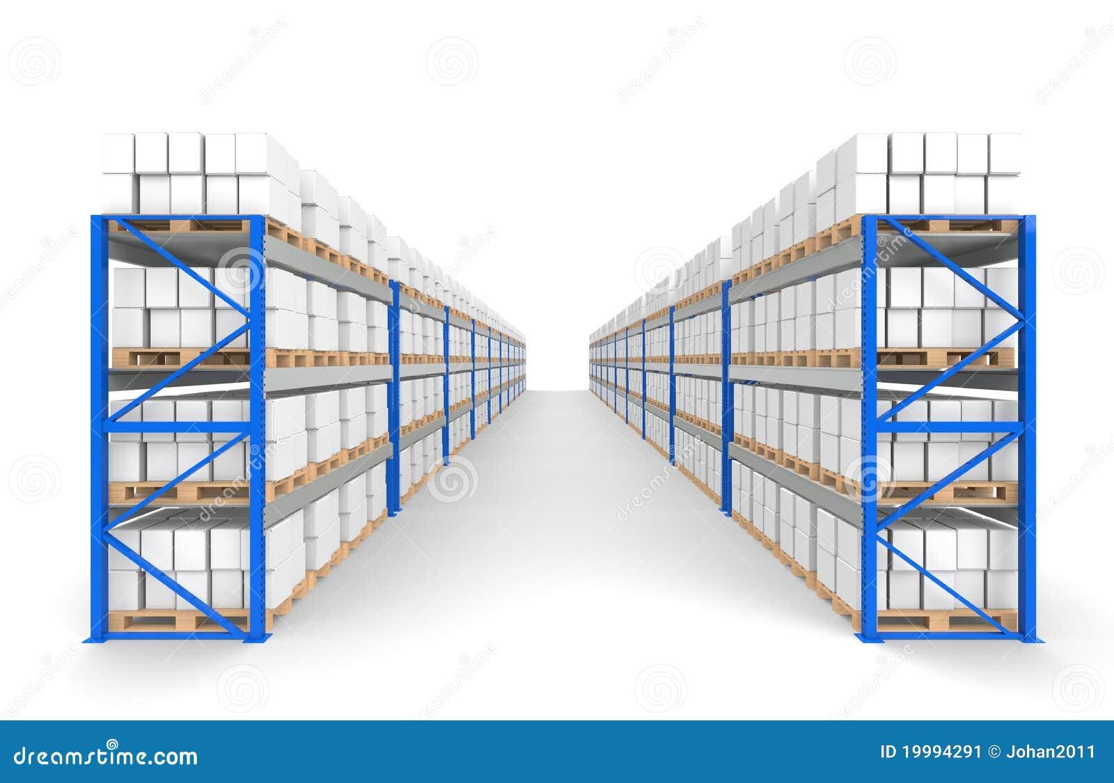 Warehouse Shelves 2 Rows Floor Shadows Stock Image