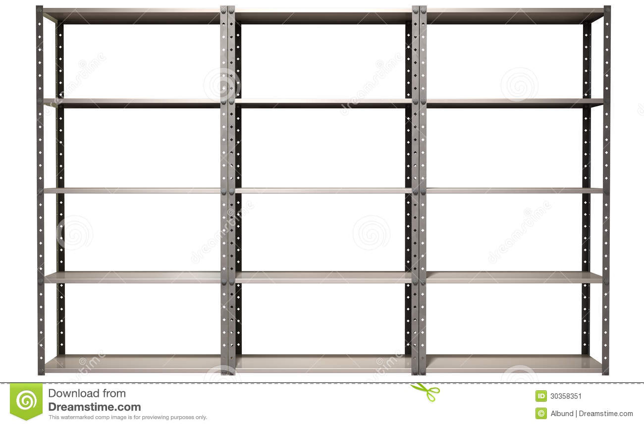 regular assembled metal warehouse shelving unit on an isolated ...
