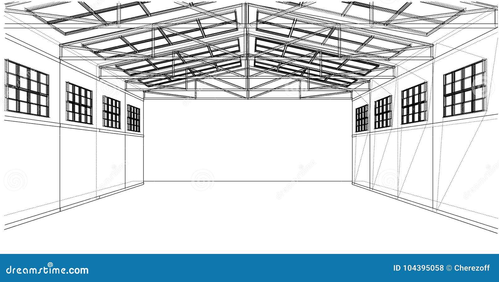 Warehouse Sketch. Vector Rendering Of 3d Stock Vector - Illustration ...