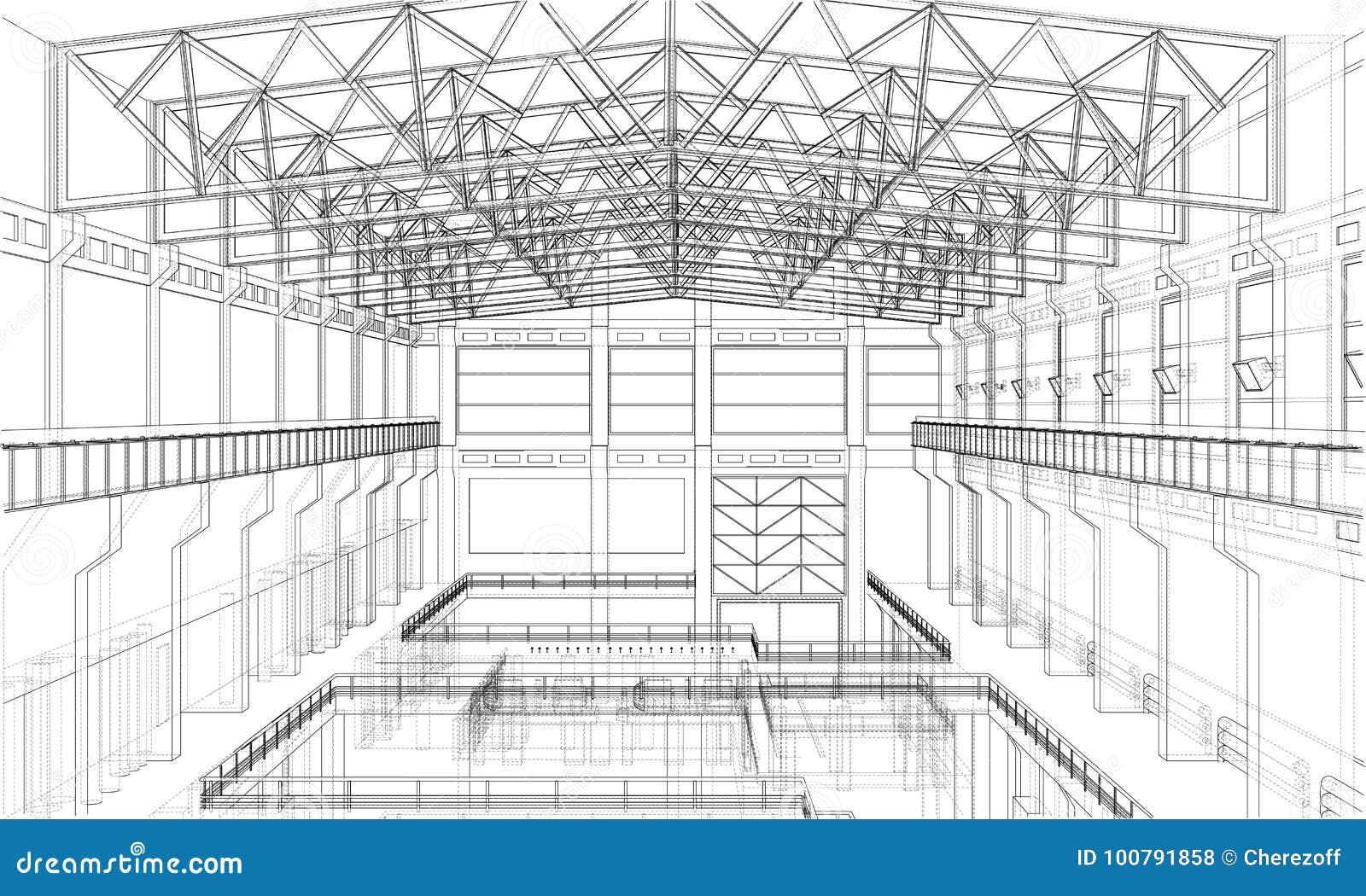 Warehouse sketch. Vector stock vector. Illustration of icon - 100791858