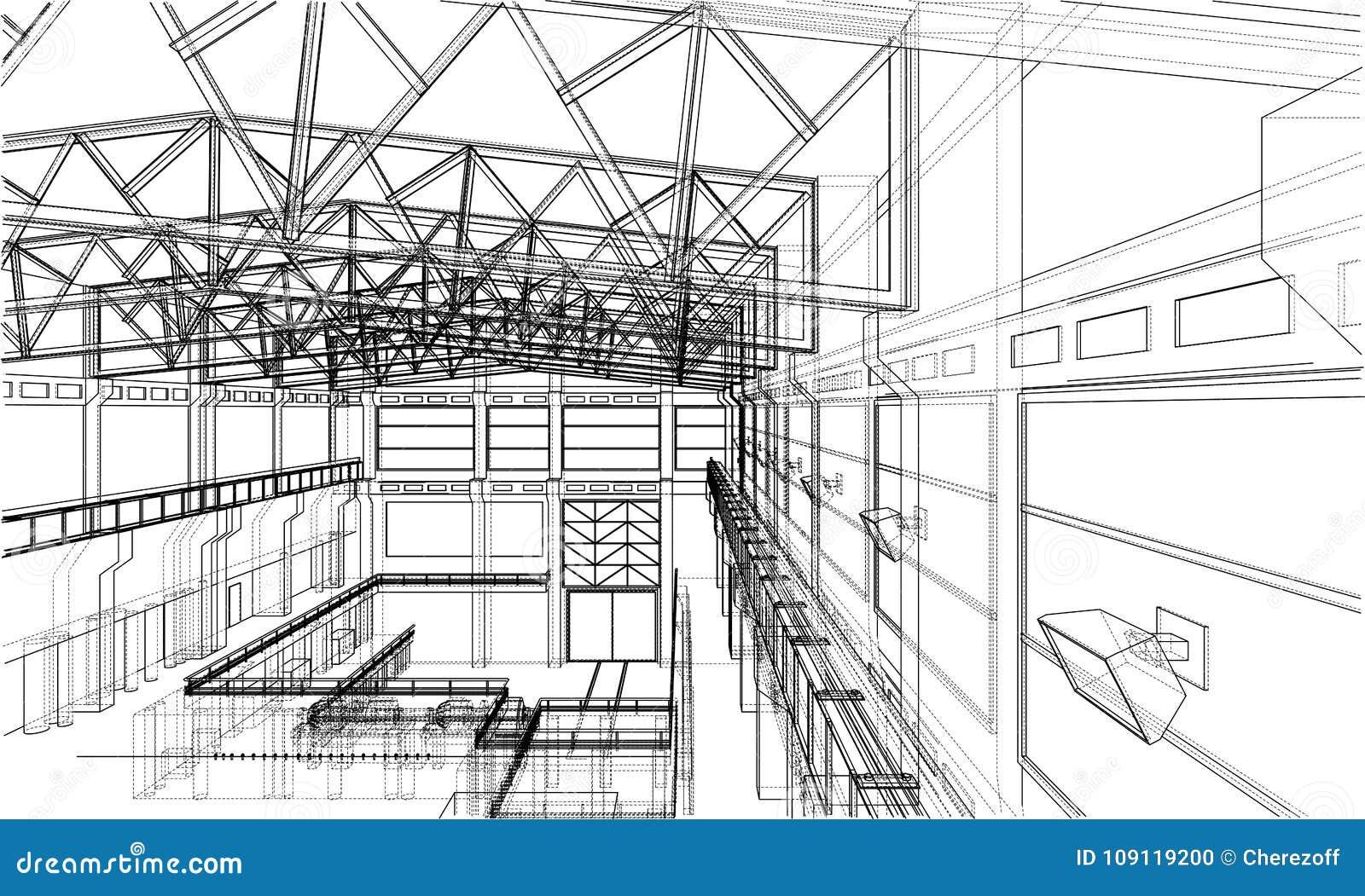 Warehouse sketch. Vector stock vector. Illustration of contour ...
