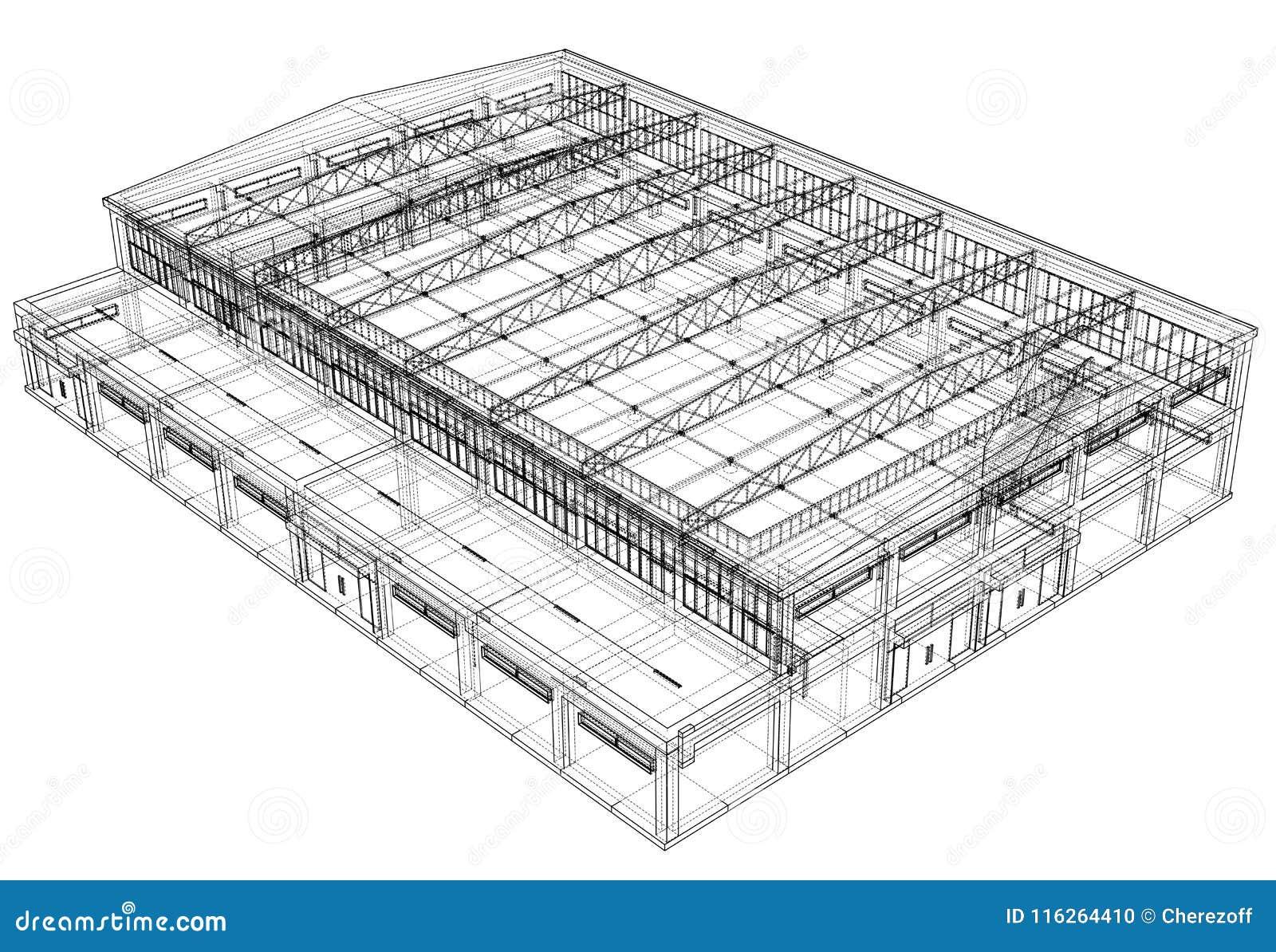 Warehouse sketch. Vector stock vector. Illustration of design ...