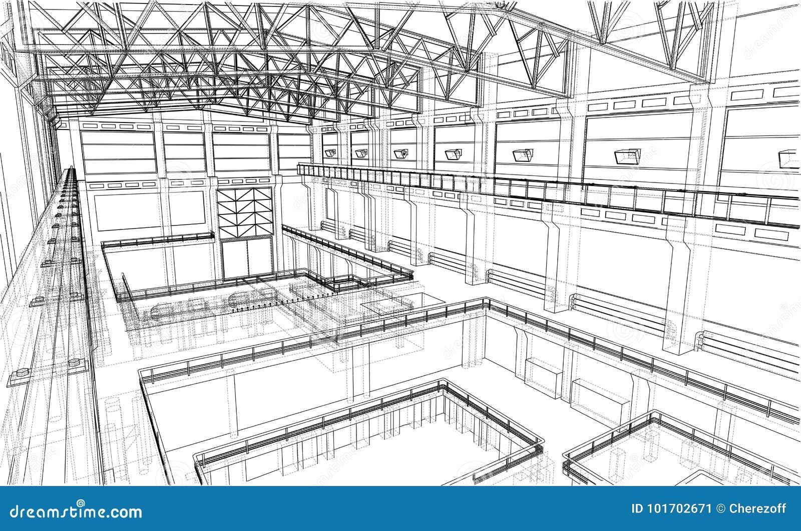 Warehouse sketch. Vector stock vector. Illustration of inside ...