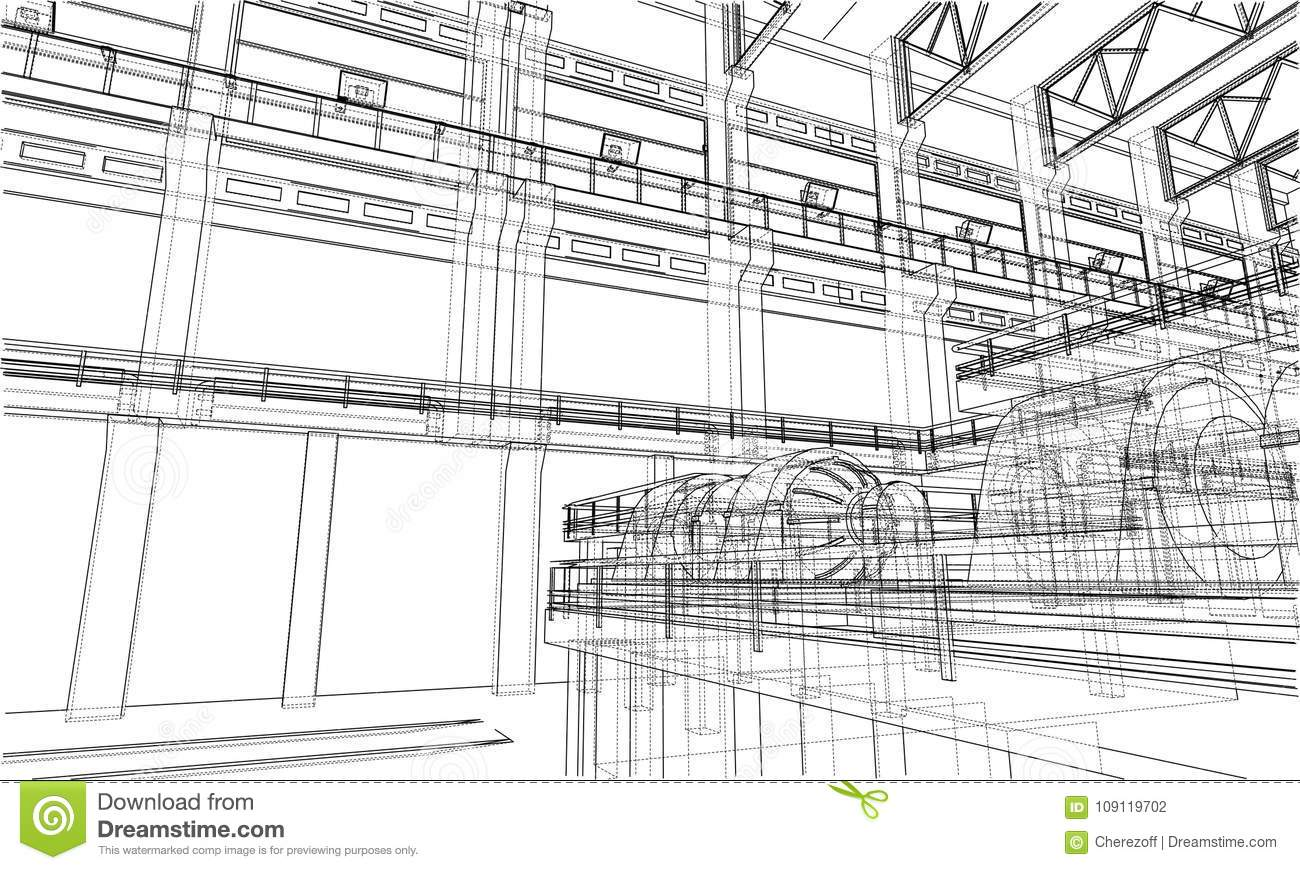 Warehouse sketch. Vector stock vector. Illustration of business ...
