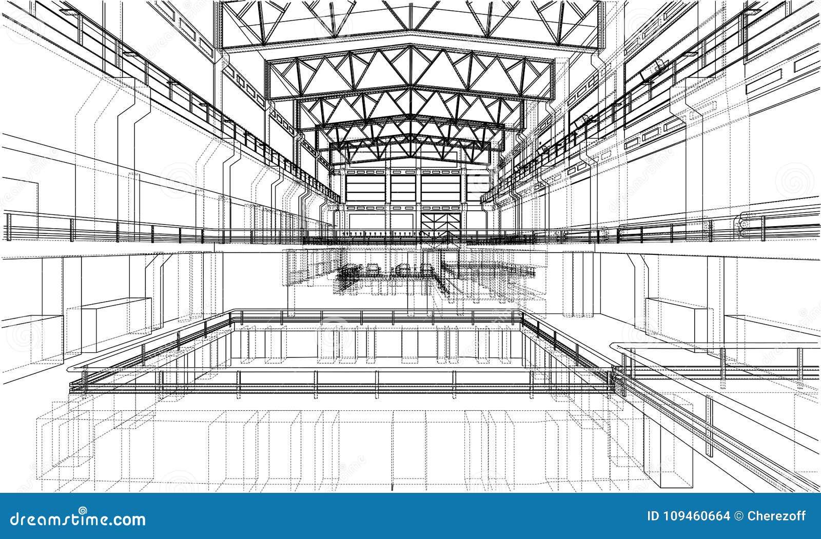 Warehouse sketch. Vector stock vector. Illustration of line - 109460664