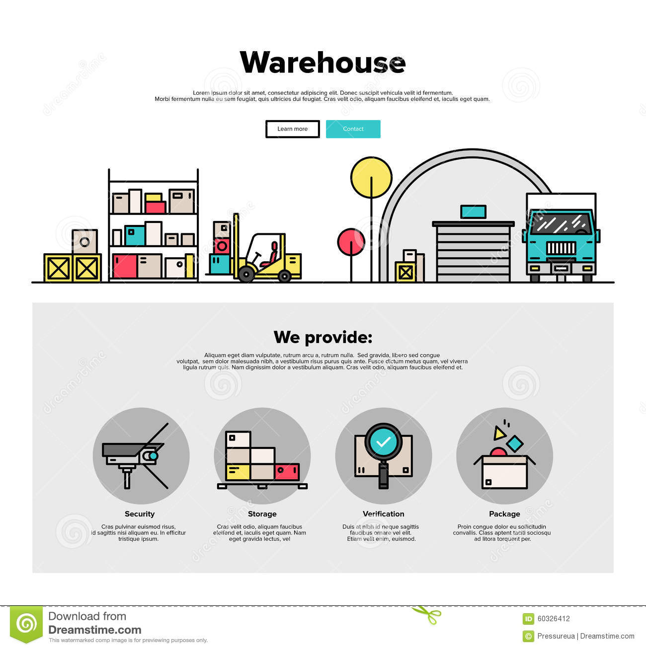 Warehouse storage flat line web graphics stock vector for Warehouse design software