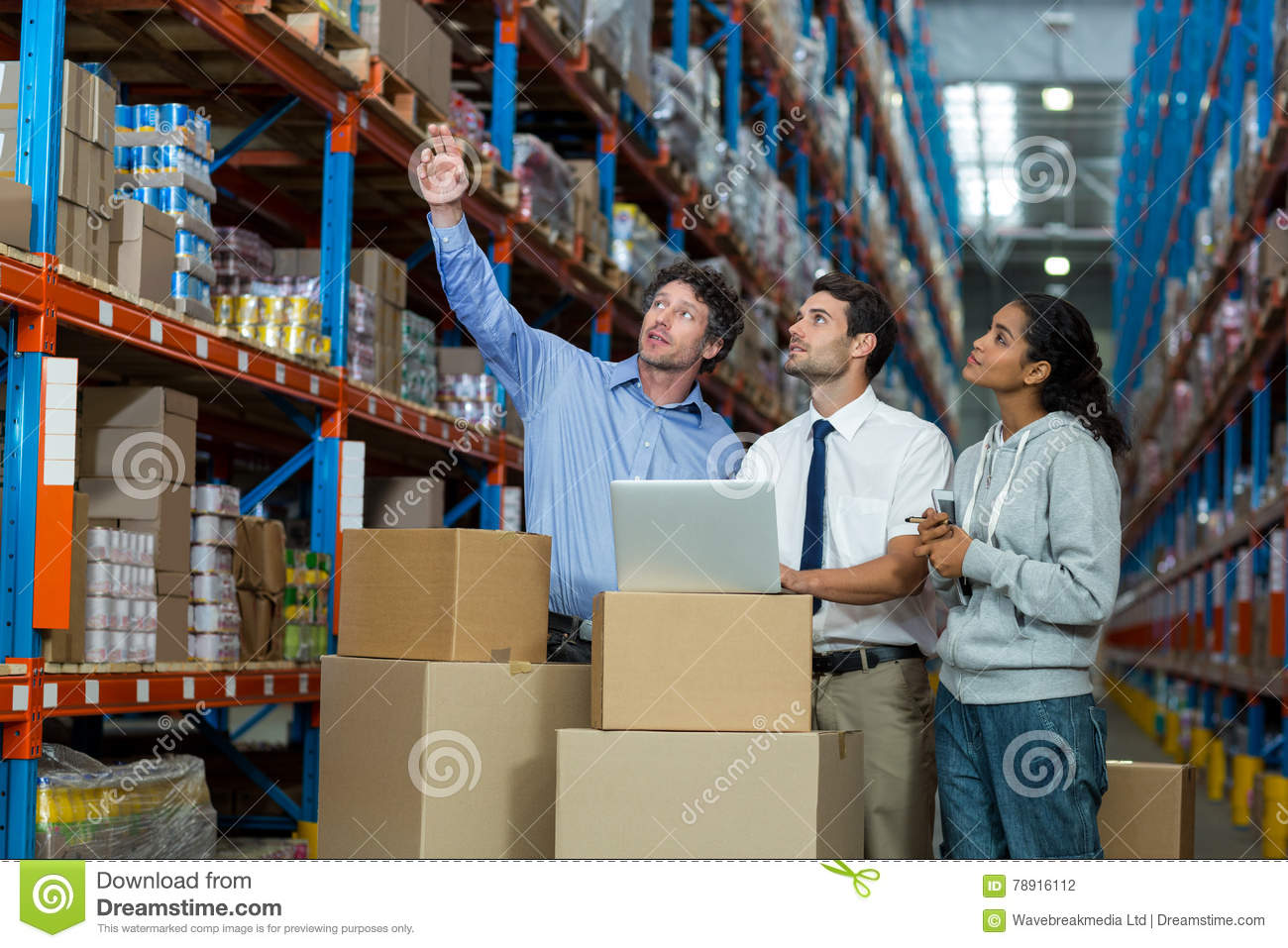 warehouse, storehouse, storage, goods, stock, worker, manager, staff, colleagues, team, well dressed