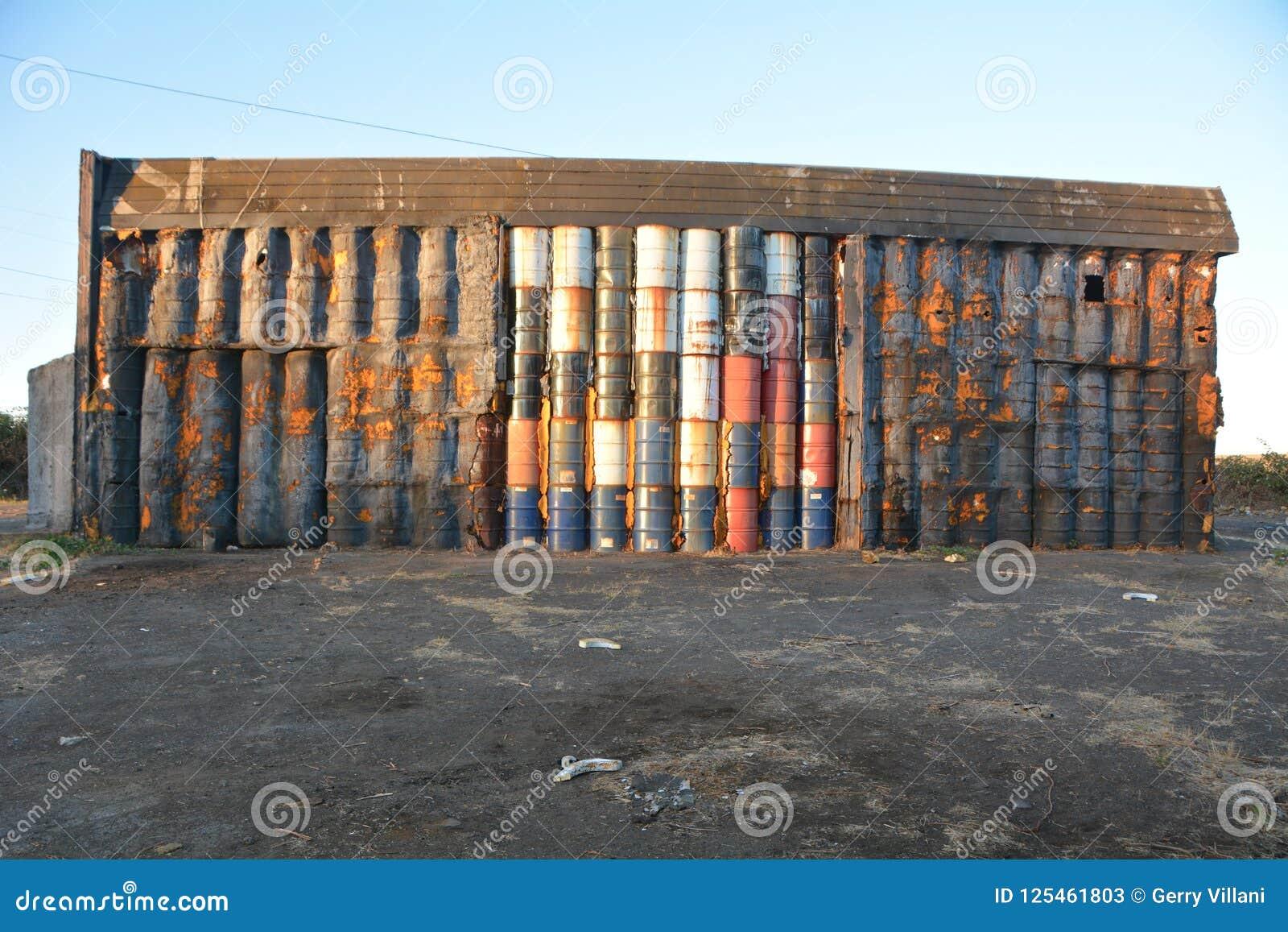 Warehouse Wall Of 50-gallon Drums Near Millersburg, Oregon