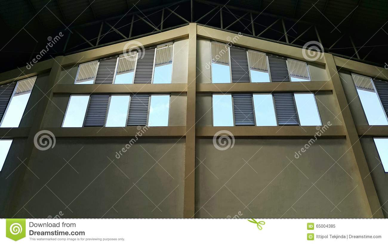 Warehouse wall and window stock image. Image of blue ...