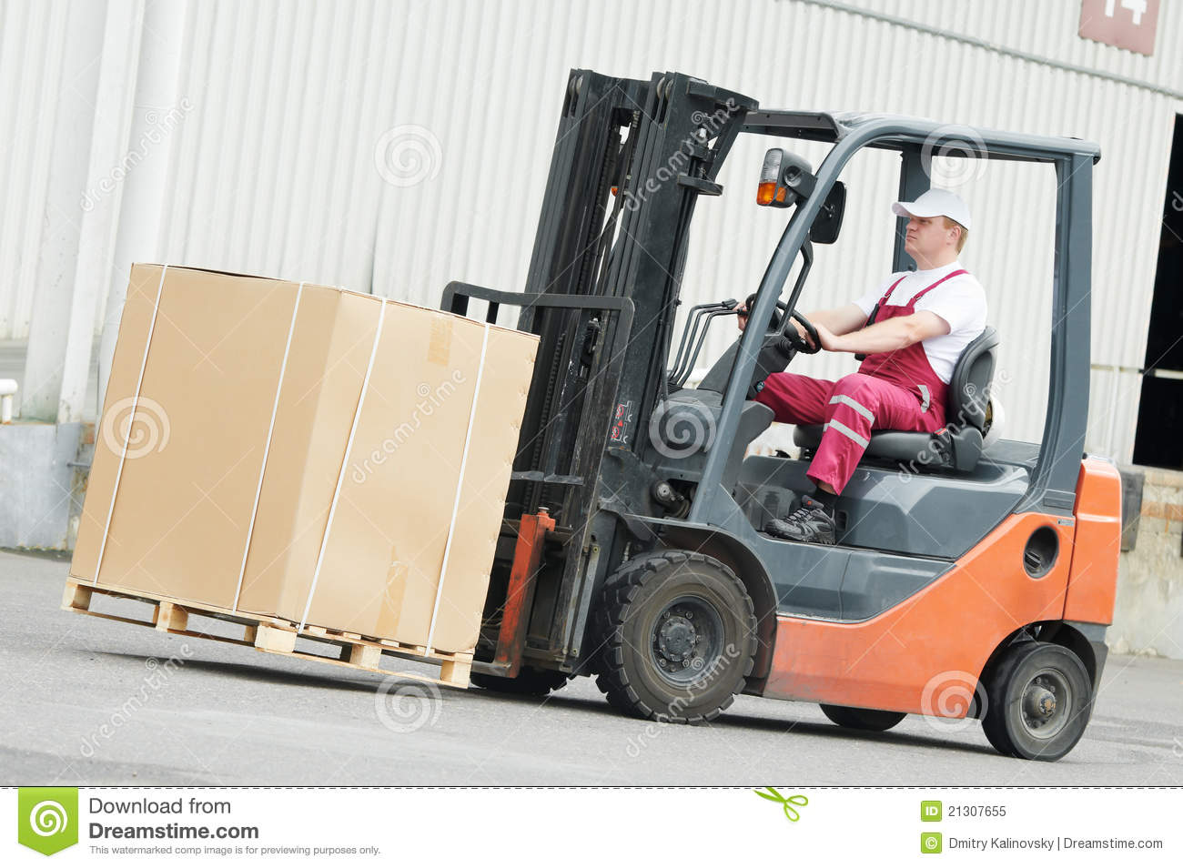 Warehouse Worker Driver In Forklift Stock Image Image